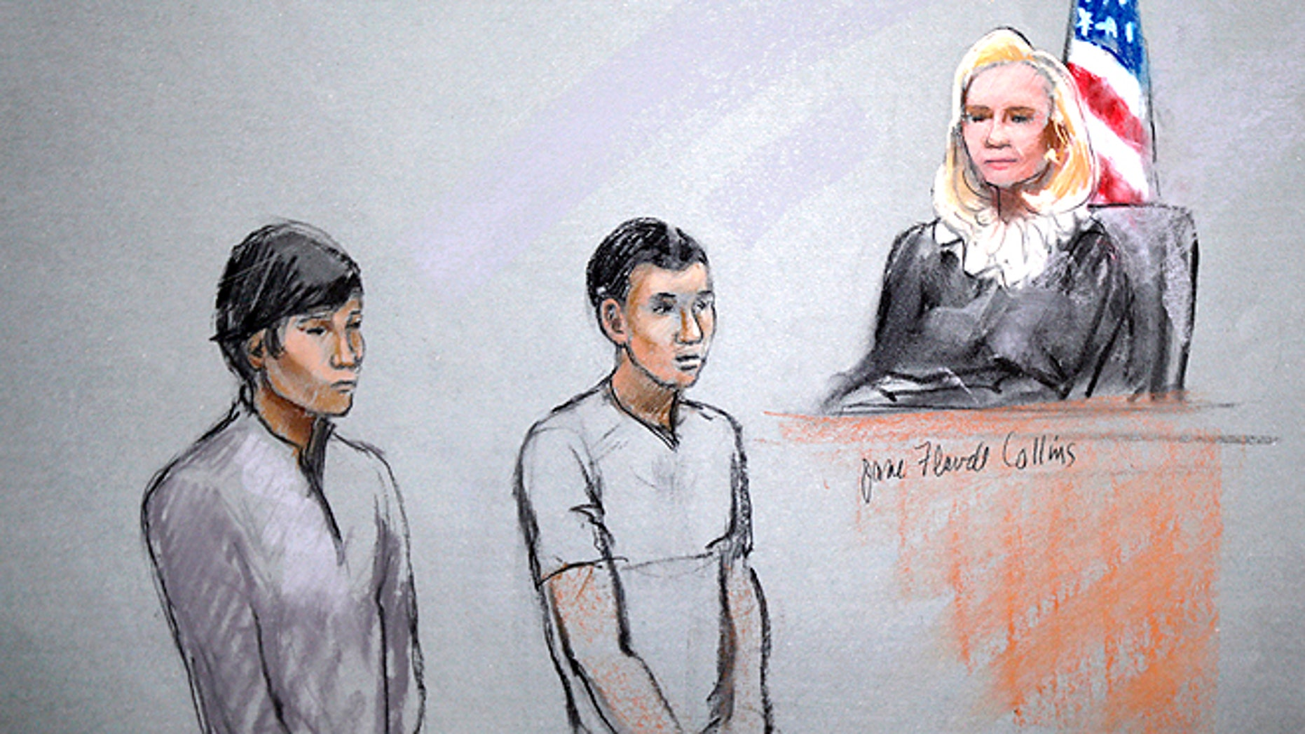 May 1, 2013: A courtroom sketch by artist Jane Flavell Collins shows defendants Dias Kadyrbayev, left, and Azamat Tazhayakov appearing in front of Federal Magistrate Marianne Bowler at the Moakley Federal Courthouse in Boston. The two college friends of Boston Marathon bombing suspect Dzhokhar Tsarnaev have been indicted Thursday, Aug. 8, 2013 on obstruction conspiracy charges. Dias Kadyrbayev and Azamat Tazhayakov are accused of trying to dispose of evidence from Dzhokhar Tsarnaev's dorm room. The two 19-year-olds have been detained since they were initially charged in May. If convicted, they face up to 20 years in prison. (AP/Jane Flavell Collins)