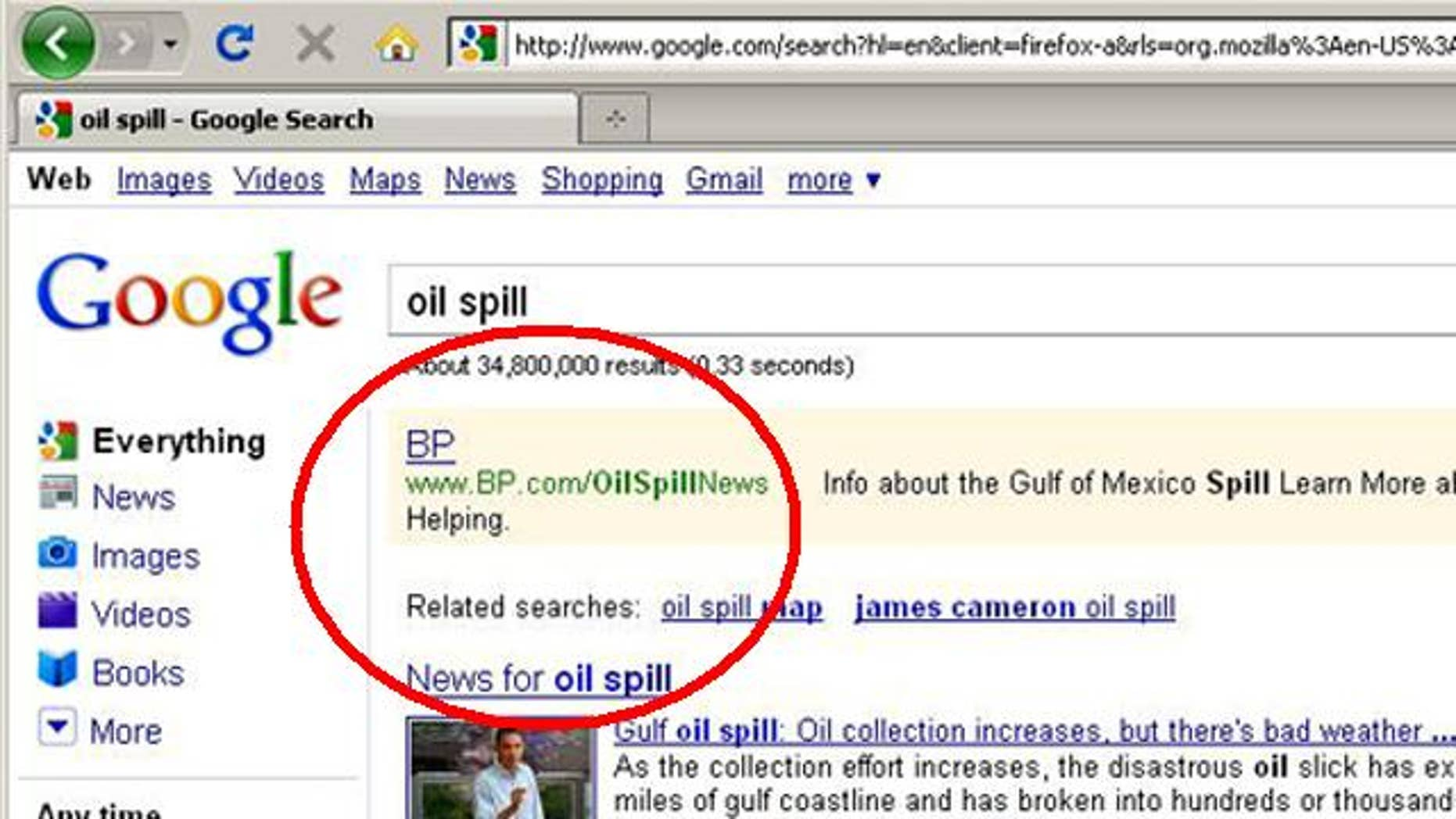 "Search on Google for ""oil spill"" and you'll find sponsored ads from BP, which critics of the company are describing as unethical."