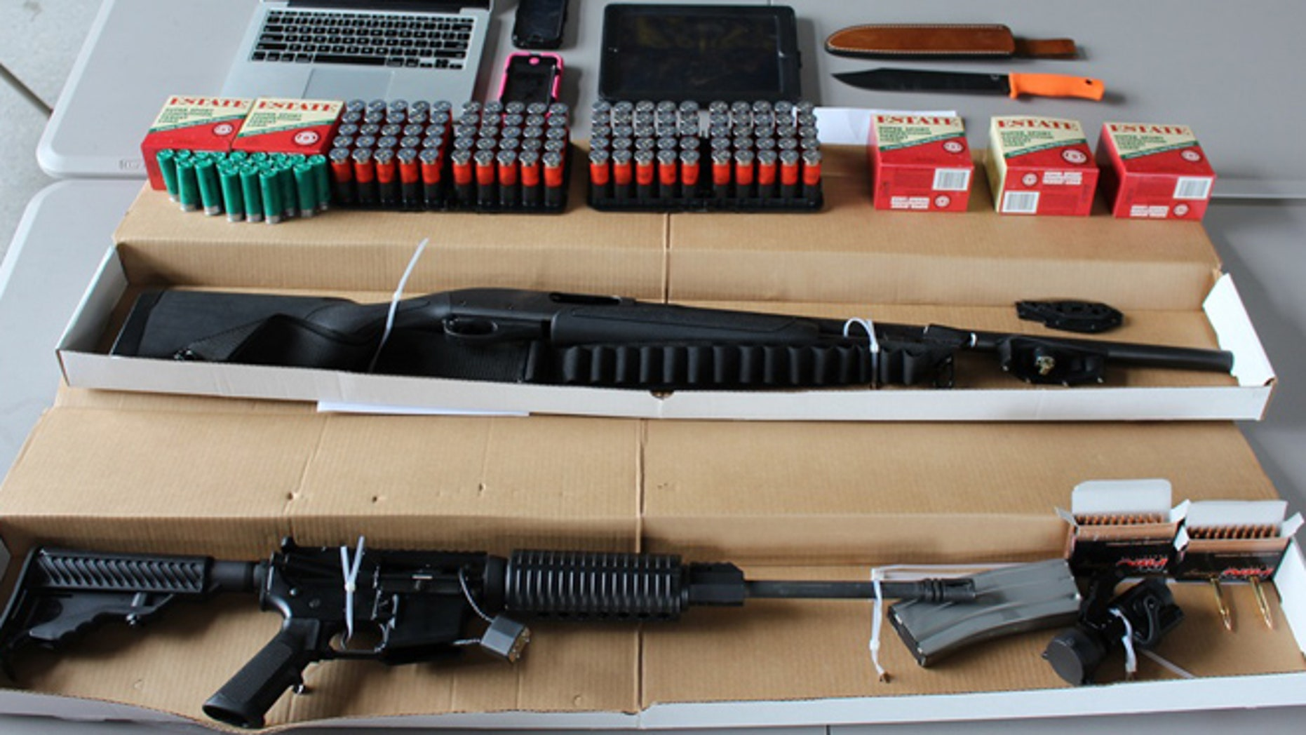 Weapons and ammunition were recovered from the vehicle of two individuals suspected of making threats of violence.