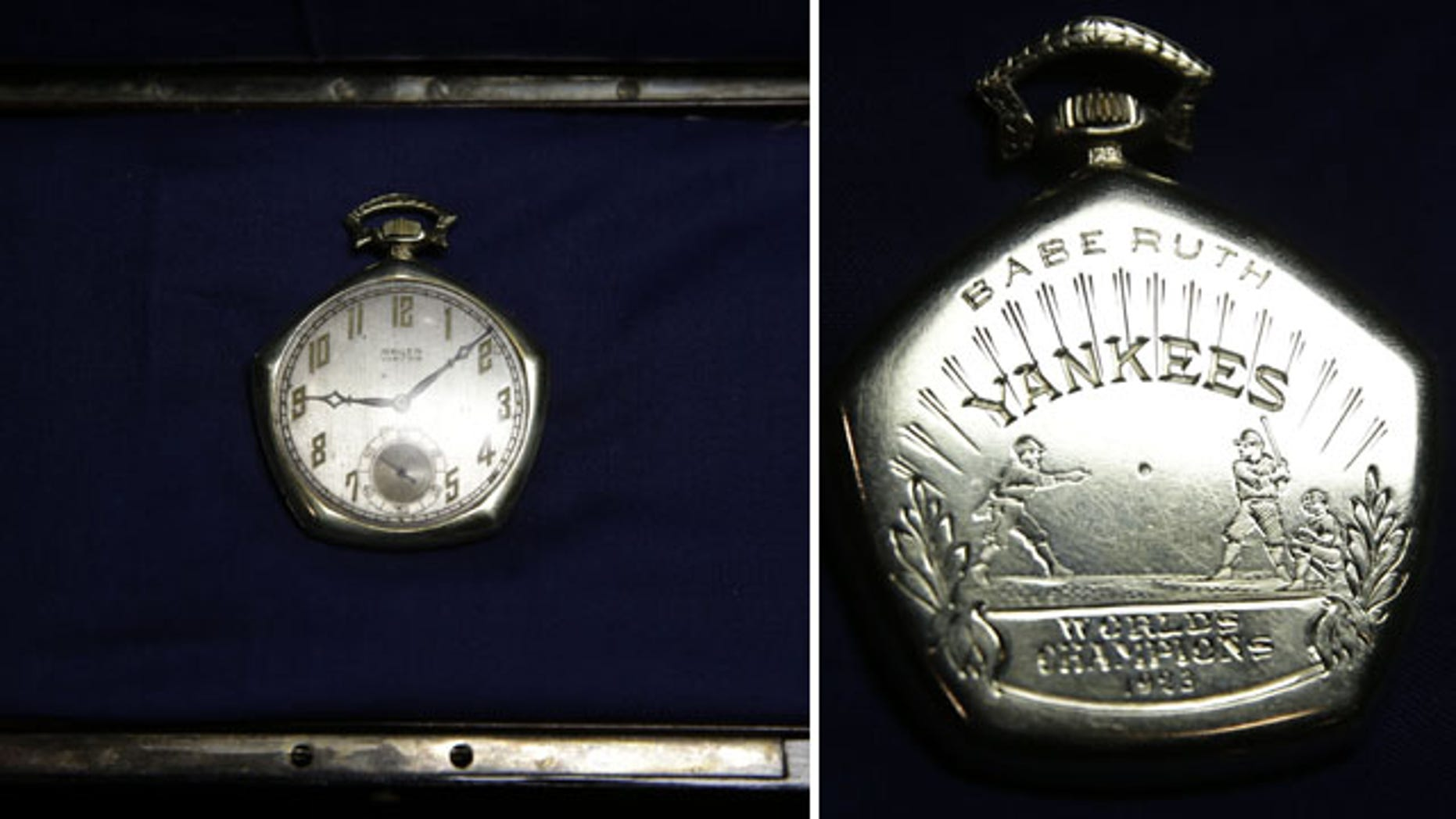 FILE - A pocket watch that was given to Babe Ruth in 1923 is displayed at Heritage Auctions office in Dallas, in this Jan. 22, 2014 file photo.  (AP)