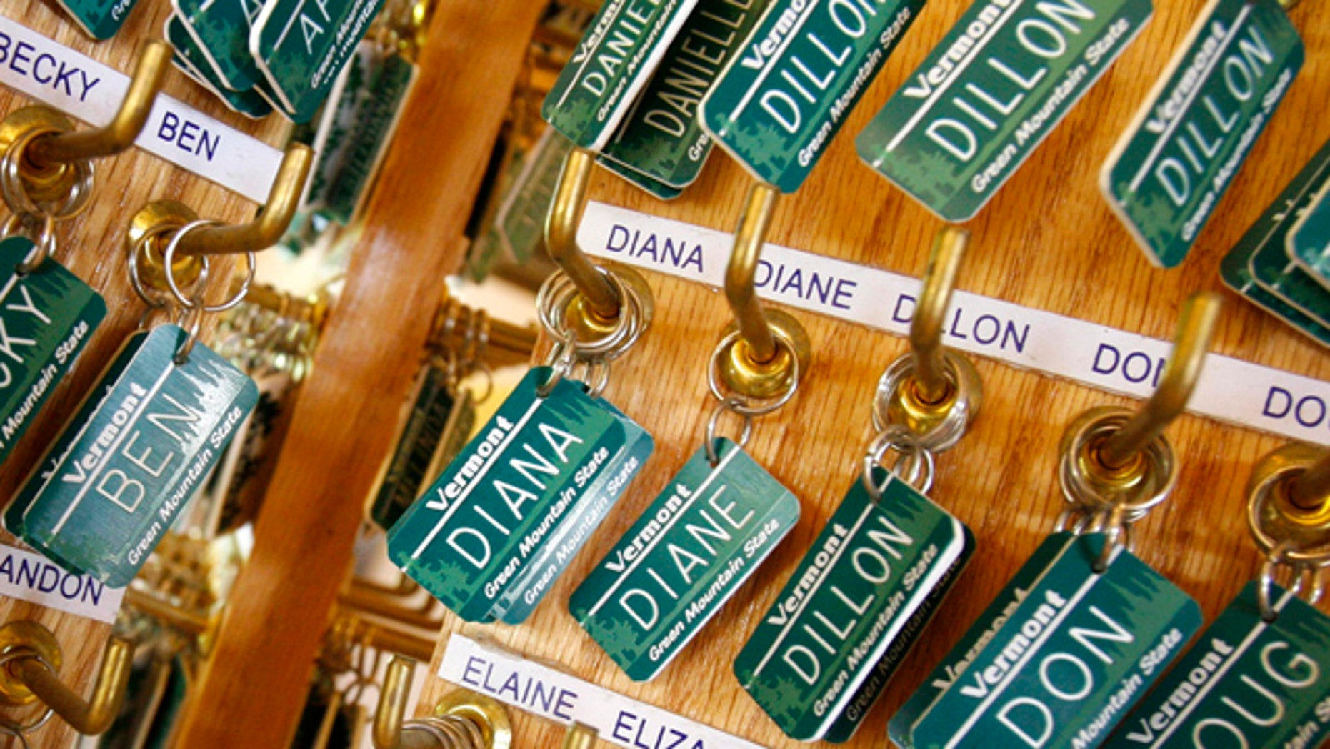 Luggage tags with children's names are displayed in East Montpelier, Vt.