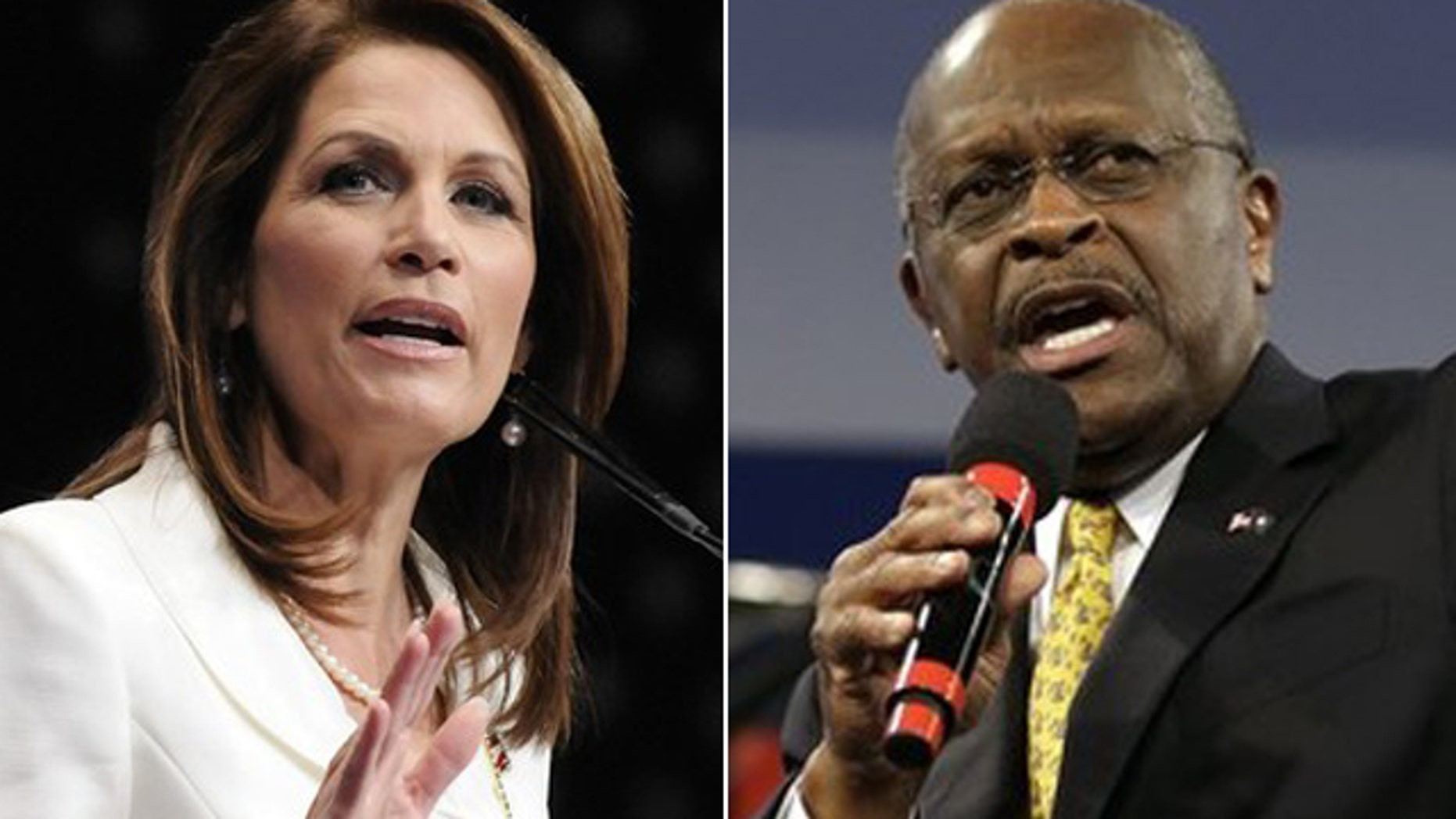 This photo shows Michele Bachmann and Herman Cain.