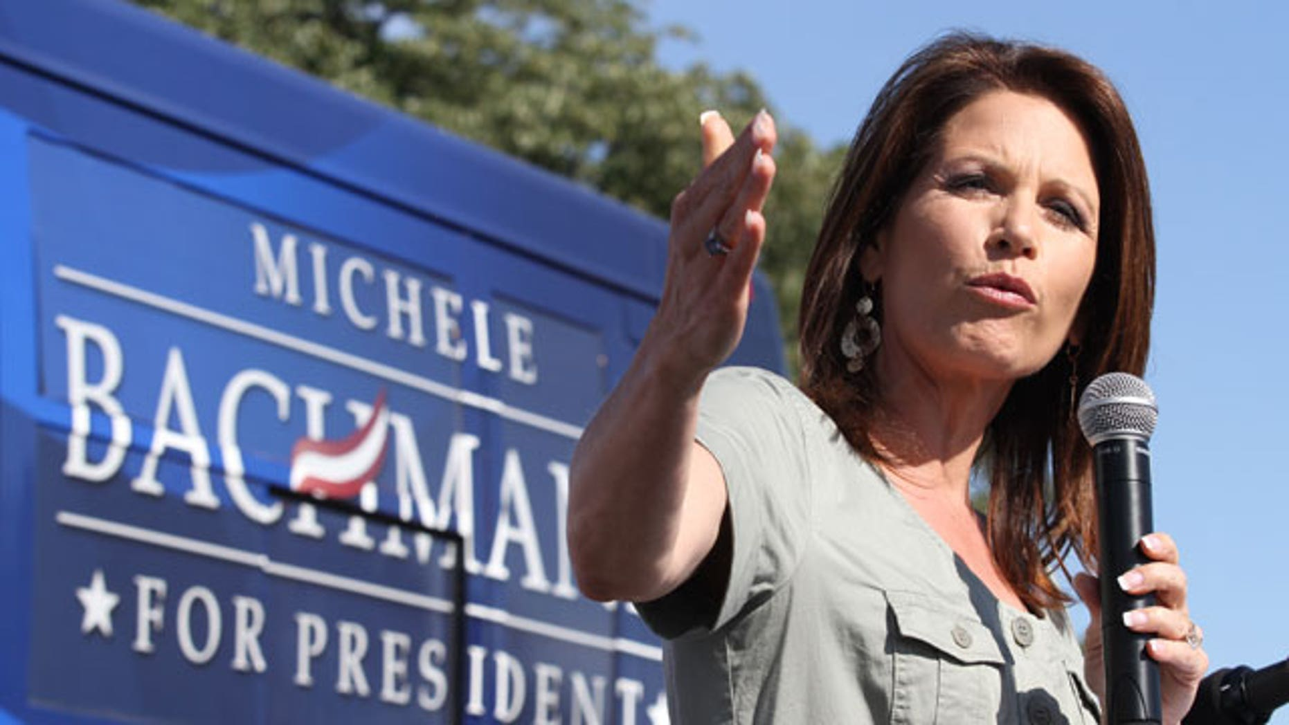 Presidential candidate Rep. Michele Bachmann R-Minn., speaks at a Tea Party Rally outside the Iowa State Capitol in Des Moines Saturday afternoon.