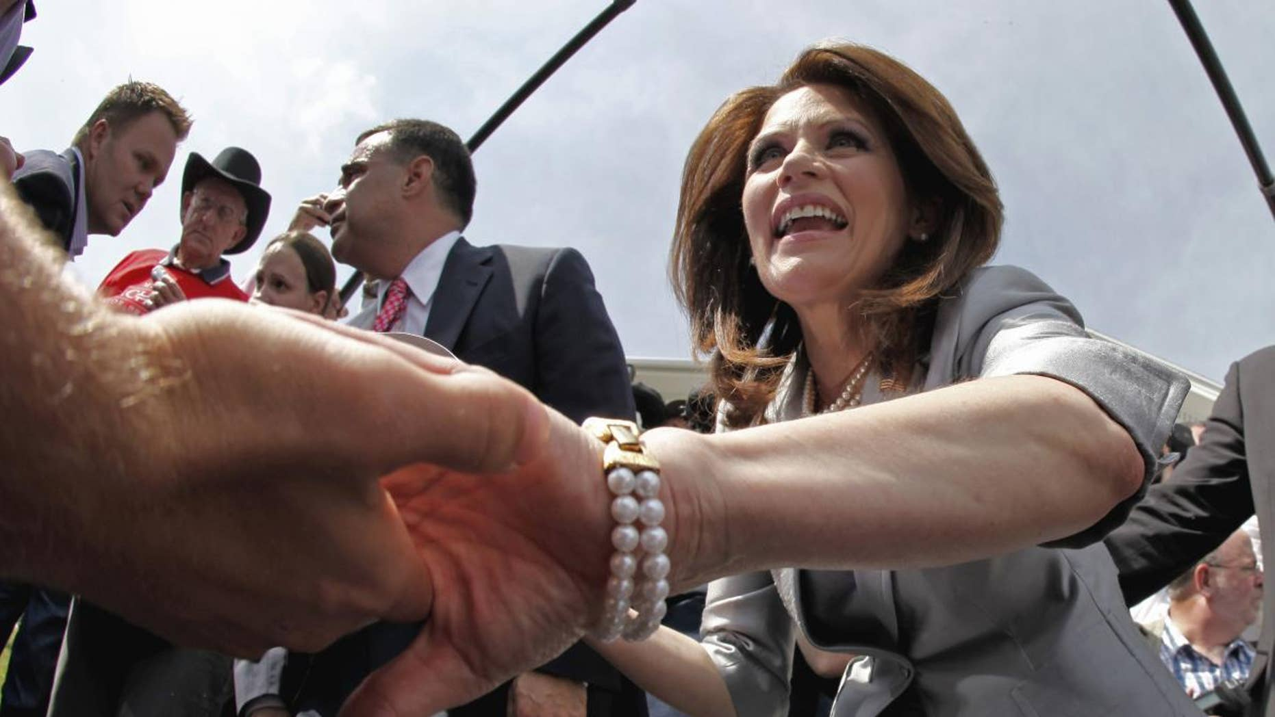 Rep. Michele Bachmann, R-Minn., greets supporters after her formal announcement to seek the 2012 Republican presidential nomination, Monday, June 27, 2011, in Waterloo, Iowa. Bachmann, who was born in Waterloo, will continue her announcement tour this week with stops in New Hampshire and South Carolina. (AP Photo