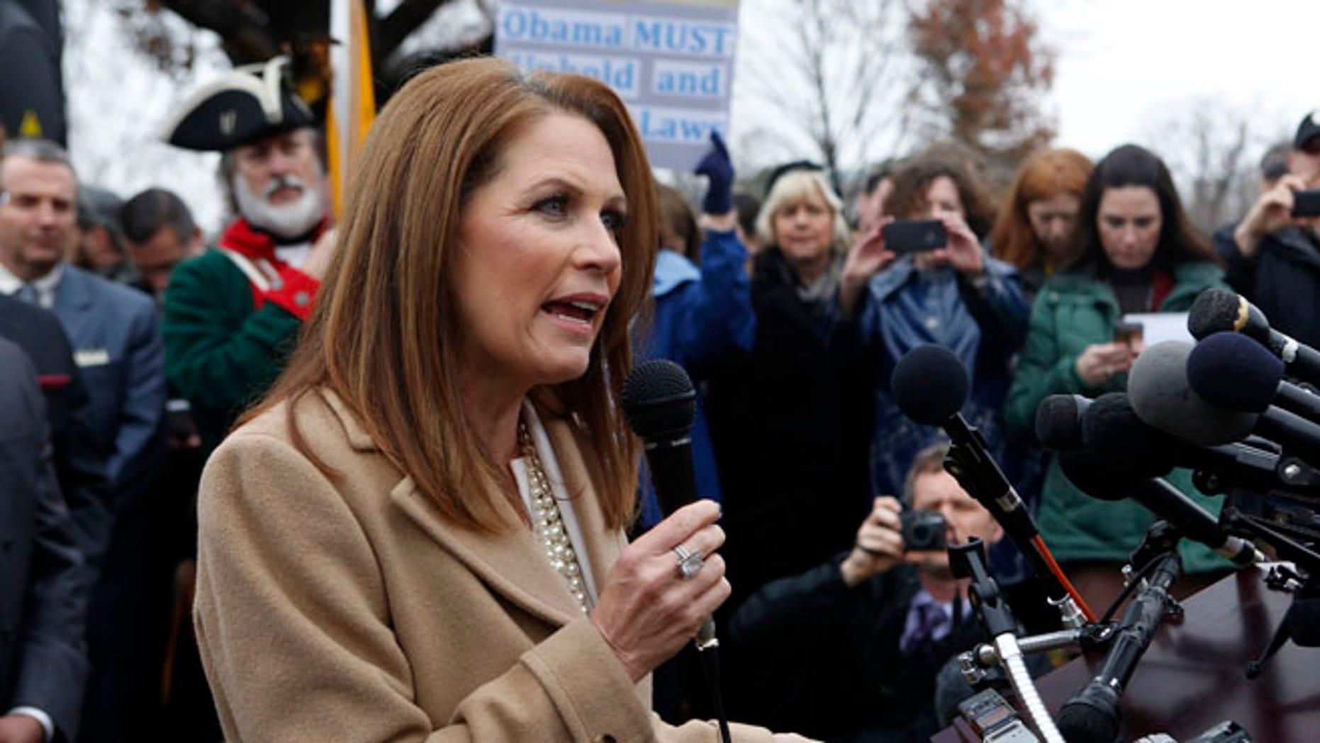 FILE: Dec. 3, 2014: Rep. Michele Bachmann, R-Minn., on Capitol Hill in Washington, D.C.