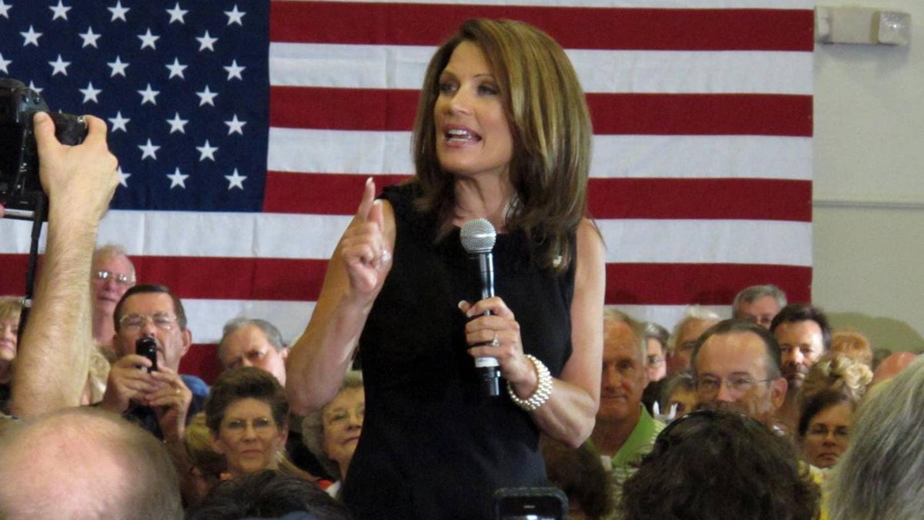 Republican presidential candidate Rep. Michele Bachmann, R-Minn., speaks during a Sunday, Aug. 28, 2011, rally in Sarasota, Fla. (AP Photo/Brendan Farrington)