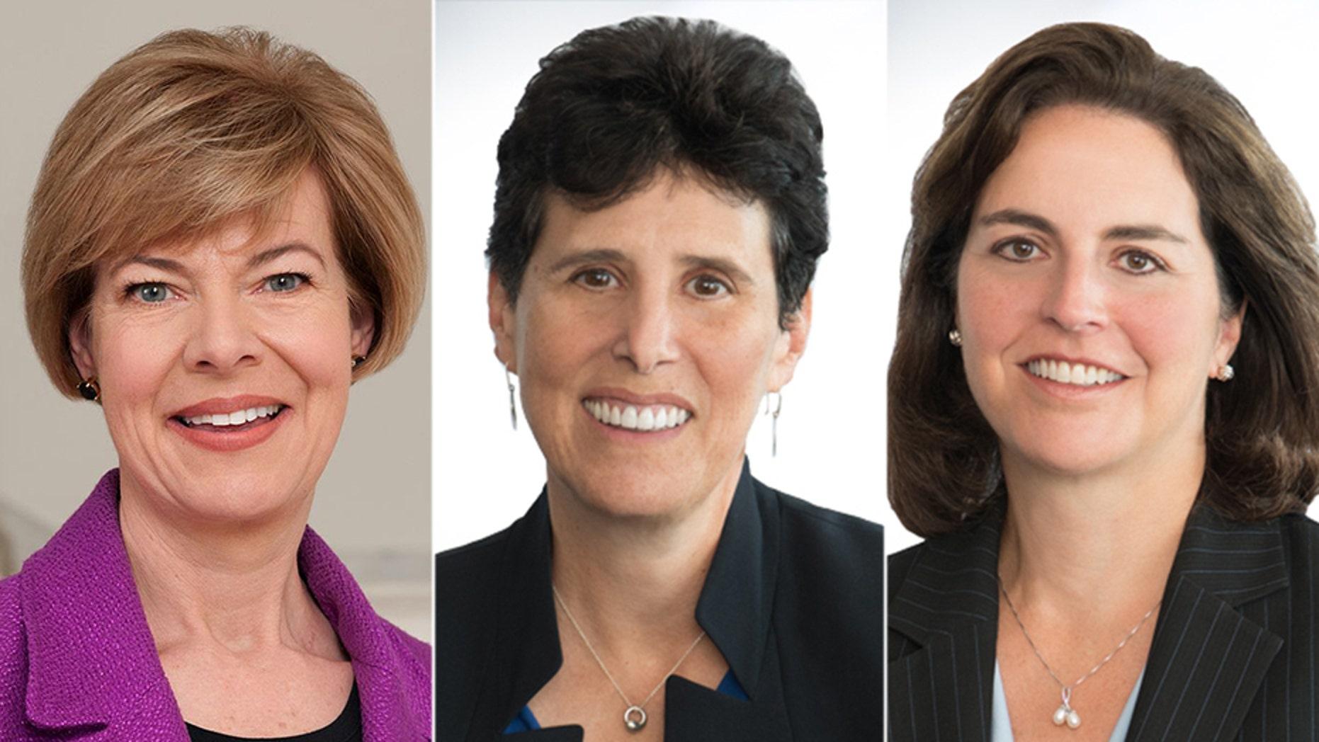 Wisconsin Democratic Sen. Tammy Baldwin (left) and attorneys Debra Katz (middle) and Lisa Banks (right).