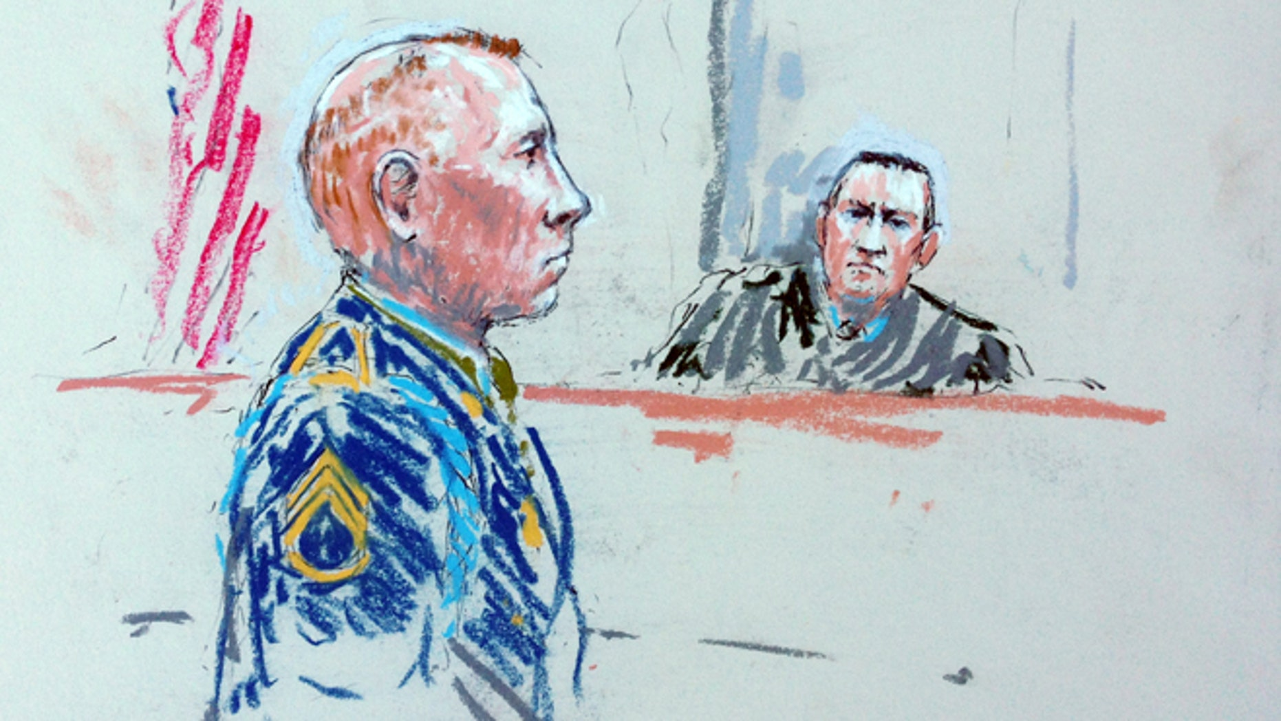 In this courtroom sketch, Staff Sgt. Robert Bales, left, appears before Judge Col. Jeffery Nance in a courtroom at Joint Base Lewis-McChord, Wash. on Tuesday, Aug. 20, 2013, during a sentencing hearing in the slayings of 16 civilians killed during pre-dawn raids on two villages on March 11, 2012.