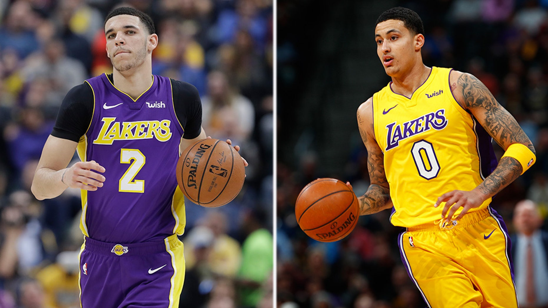 Lonzo Ball, left, and Kyle Kuzma would often roast each other on social media.