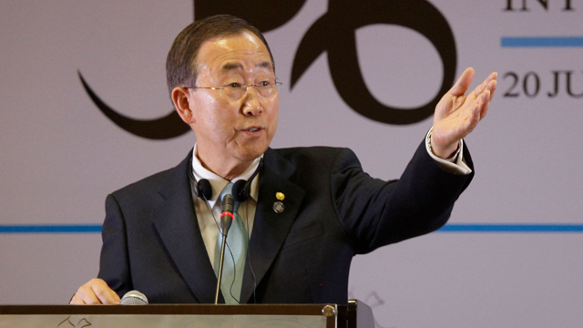 July 20, 2010: U.N. Secretary General Ban Ki-Moon takes a question during a joint press conference with Afghan President Hamid Karzai.