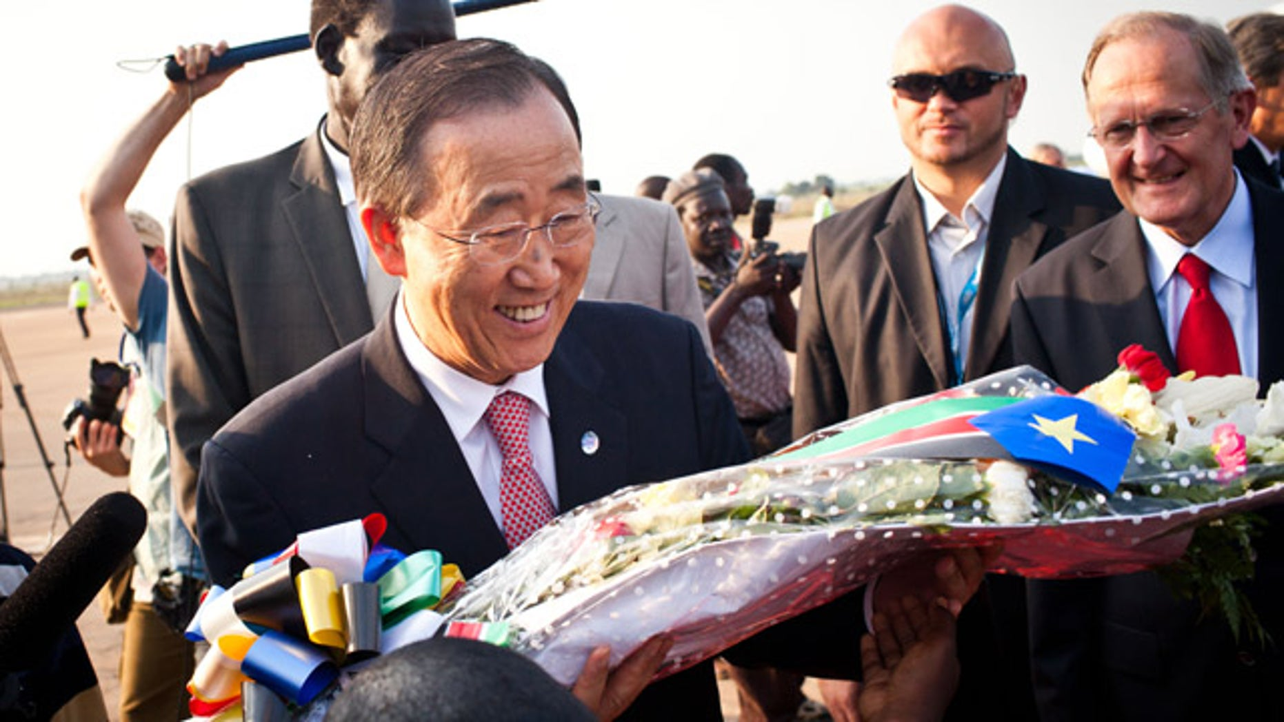 July 9: U.N. Secretary General Ban Ki-moon, along with numerous other foreign dignitaries are arriving in Juba to celebrate the independence of South Sudan.