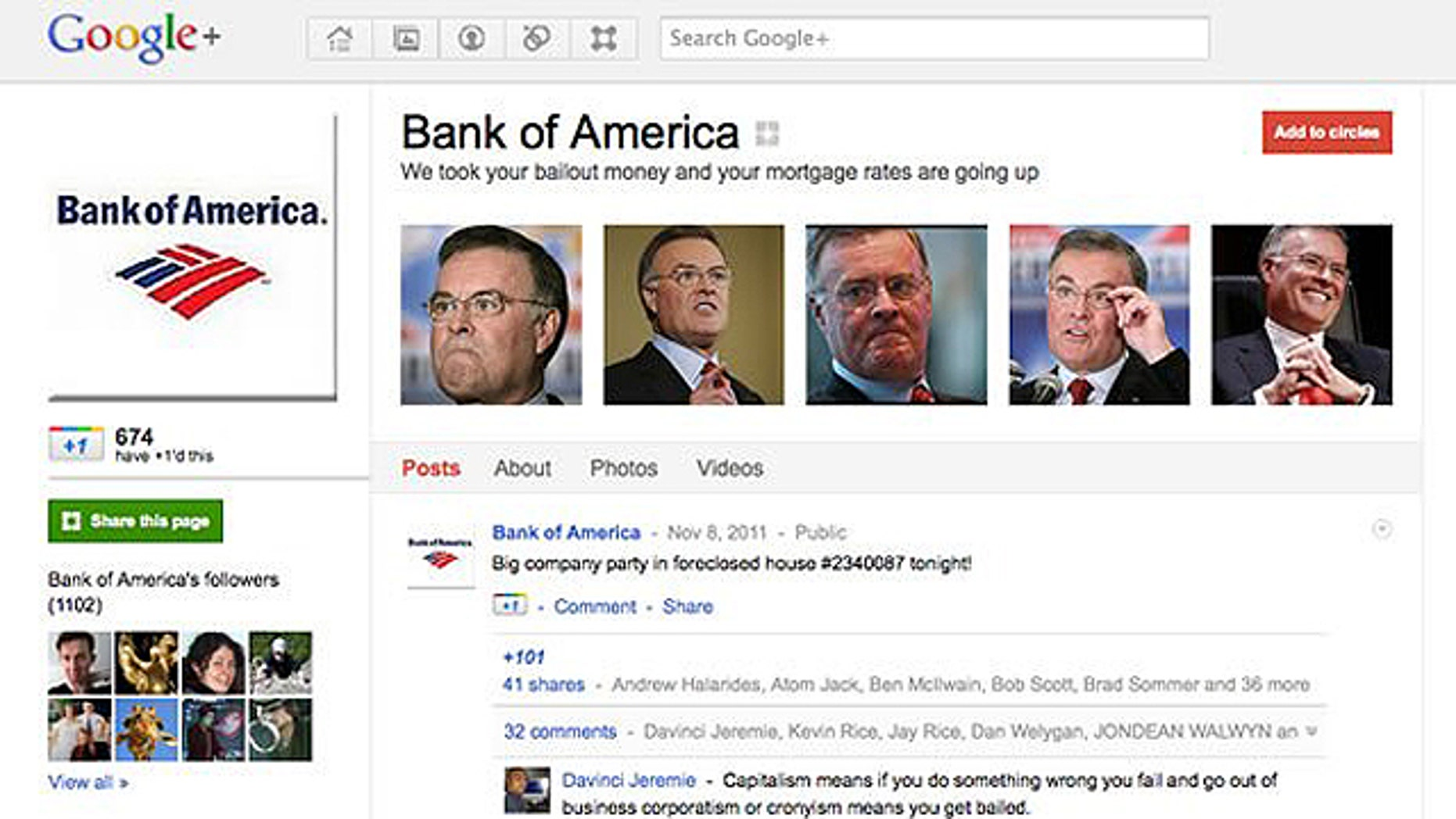 """A fake Google+ page claiming to represent Bank of America presents a new tagline for the company: """"We took your bailout money and your mortgage rates are going up."""""""