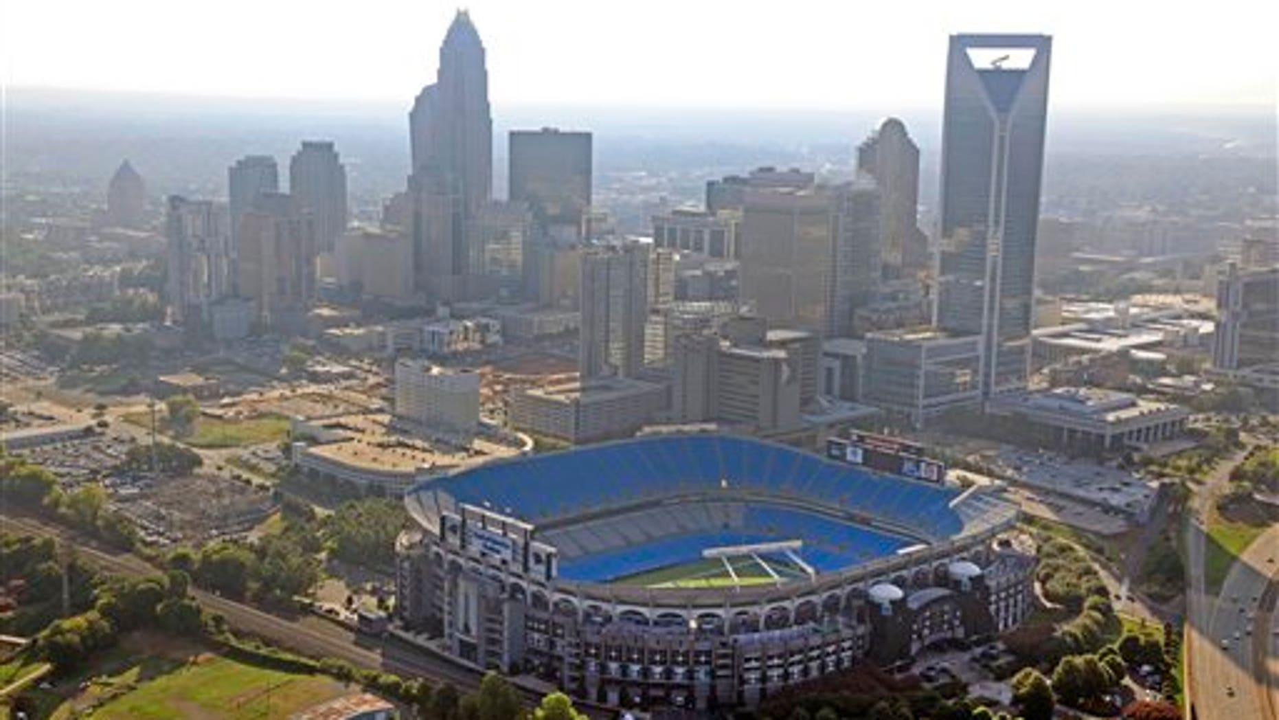 A file photo of the Bank of America Stadium in Charlotte, where President Obama had planned to deliver his speech Thursday before the Democratic National Convention. Democratic officials, citing weather concerns, announced Wednesday that the venue will be changed to the Time Warner Cable Arena.