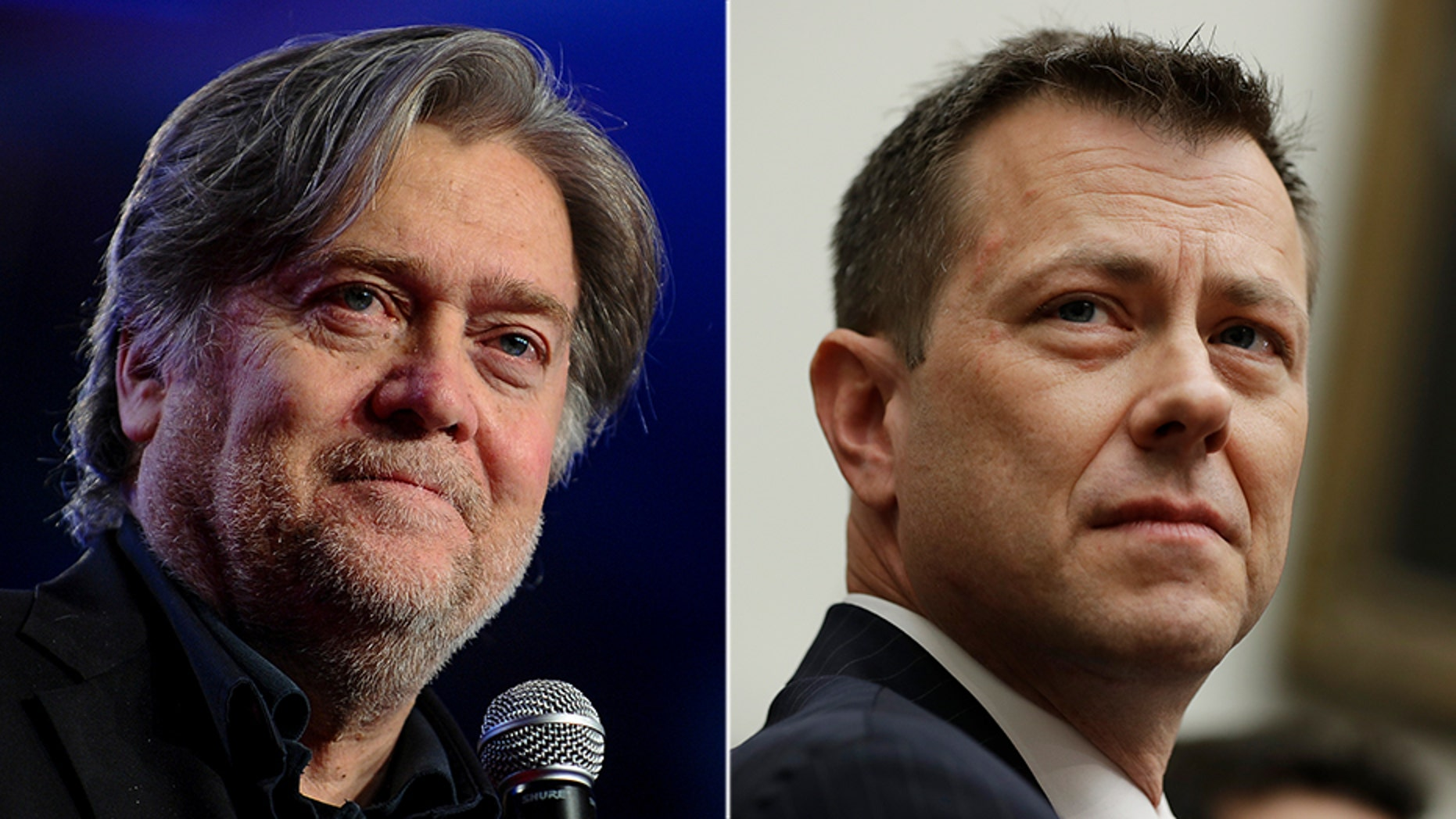 Democrats unsuccessfully tried to change the subject to a discussion about holding ex-White House aide Steve Bannon (left) in contempt, during a hearing Thursday with FBI agent Peter Strzok.