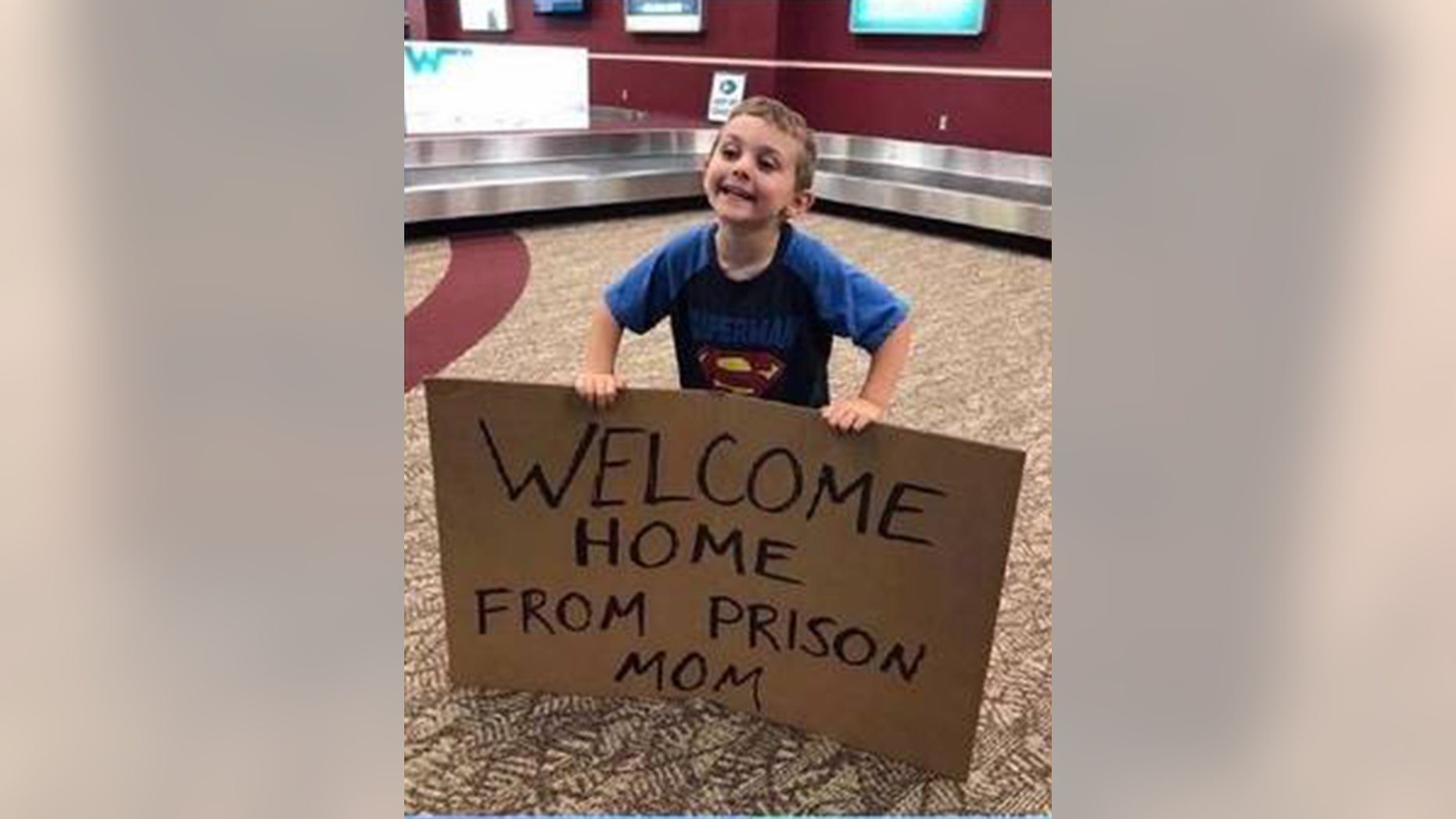 Barbara Nielson was not expecting her son's welcome home sign when she returned from a week-long business trip.