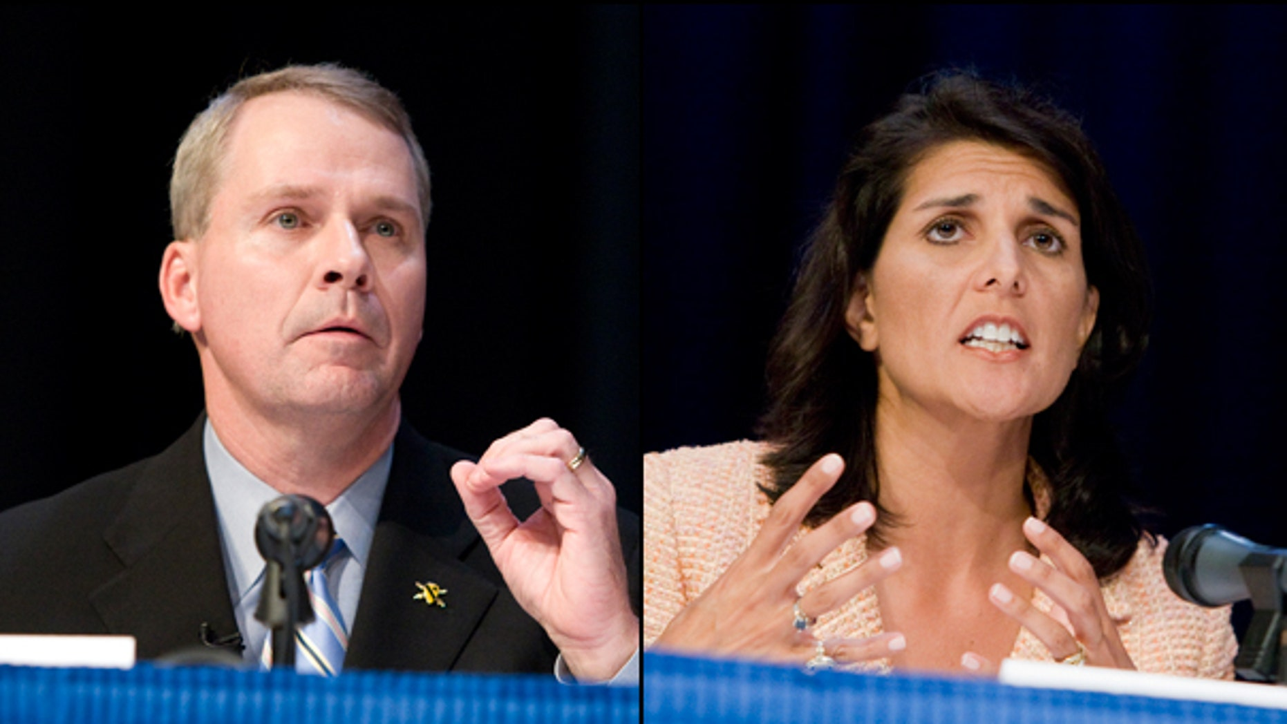 U.S. Rep. Gresham Barrett, (l) and South Carolina Rep. Nikki Haley will meet in a runoff election June 22 to suceed South Carolina Gov. Mark Sanford. (AP)(