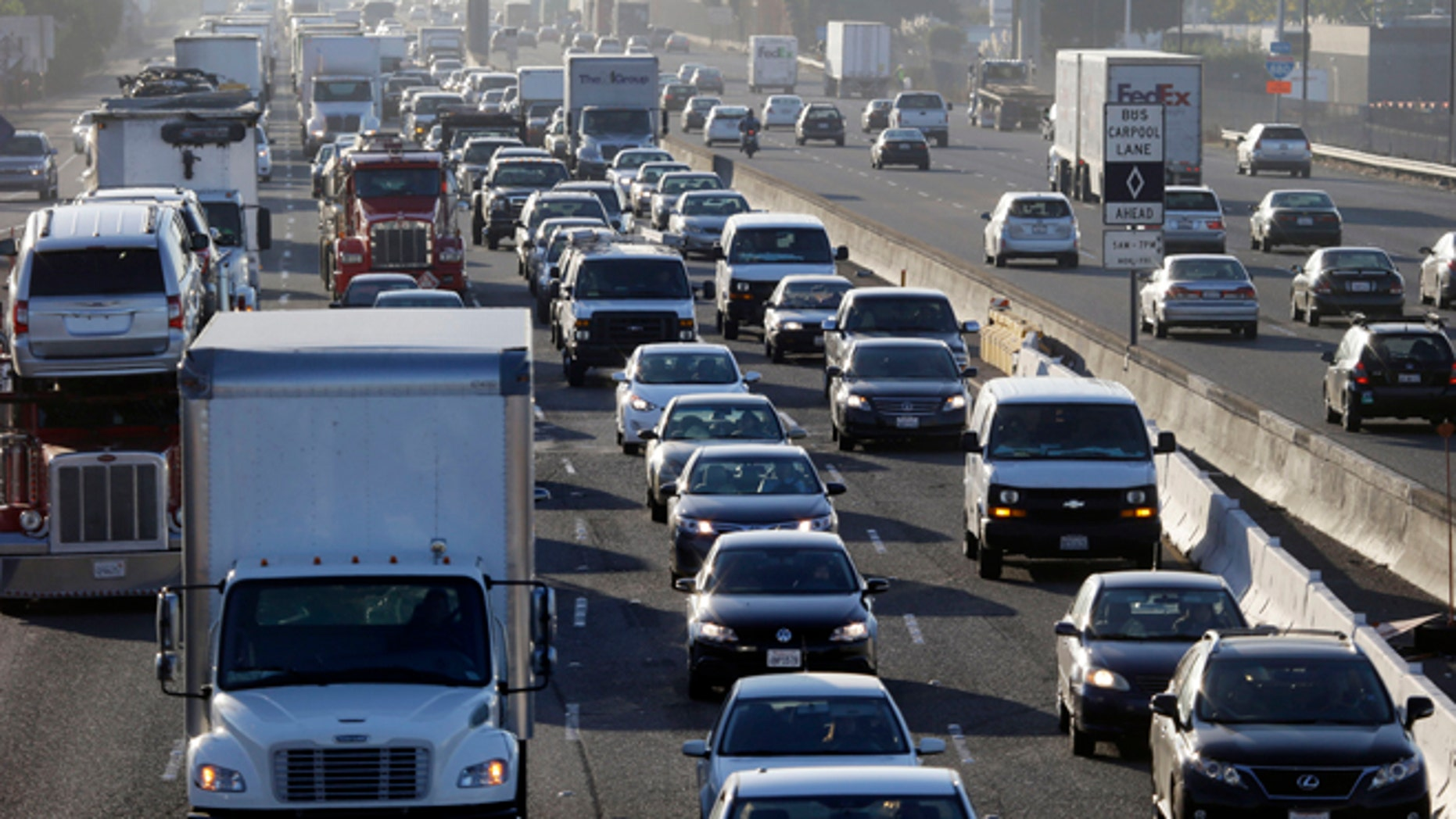 Oct. 18, 2013: Highway 880 is packed with commuters in Oakland, Calif. Commuters in the San Francisco Bay Area got up before dawn on Friday and endured heavy traffic on roadways, as workers for the region's largest transit system walked off the job for the second time in four months.