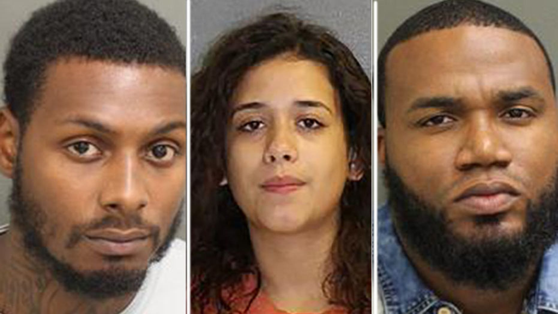 Mugshots for (l. to r.) Benjamin Bascom, 24, Melissa Roque, 21, and Kevin McFoley, 28