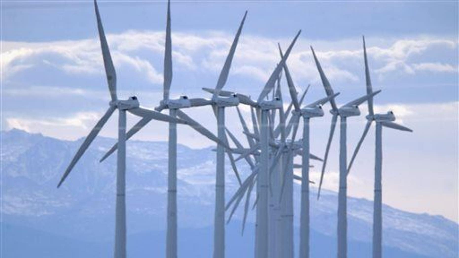 Turbines blow in the wind south of Cheyenne, Wyo.