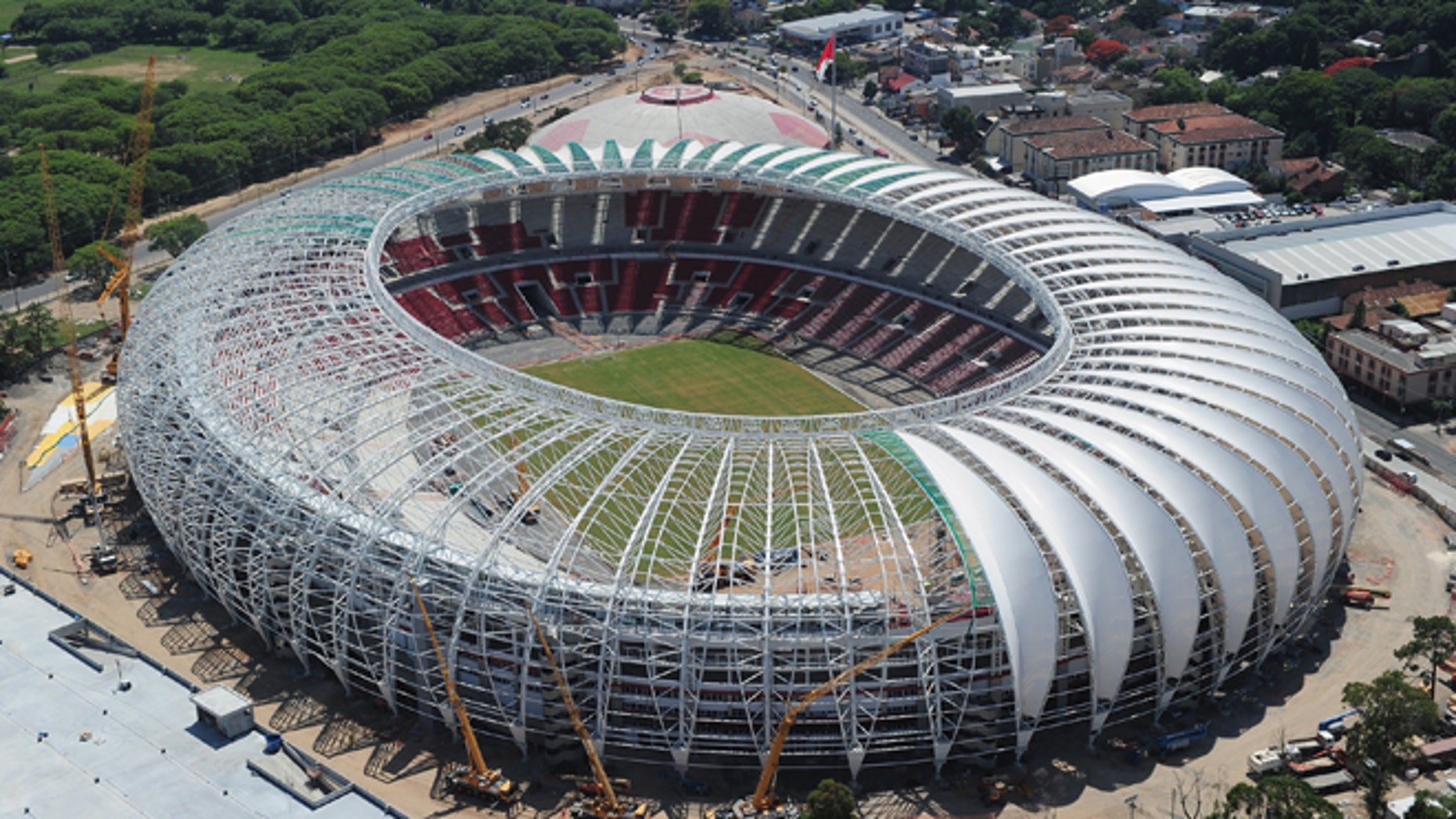 PORTO ALEGRE, BRAZIL - DECEMBER 15:  An aerial view of the Beira Rio stadium venue for the FIFA 2014 World Cup Brazil on December 15, 2013 in Porto Alegre, Brazil.  (Photo by Shaun Botterill/Getty Images,)