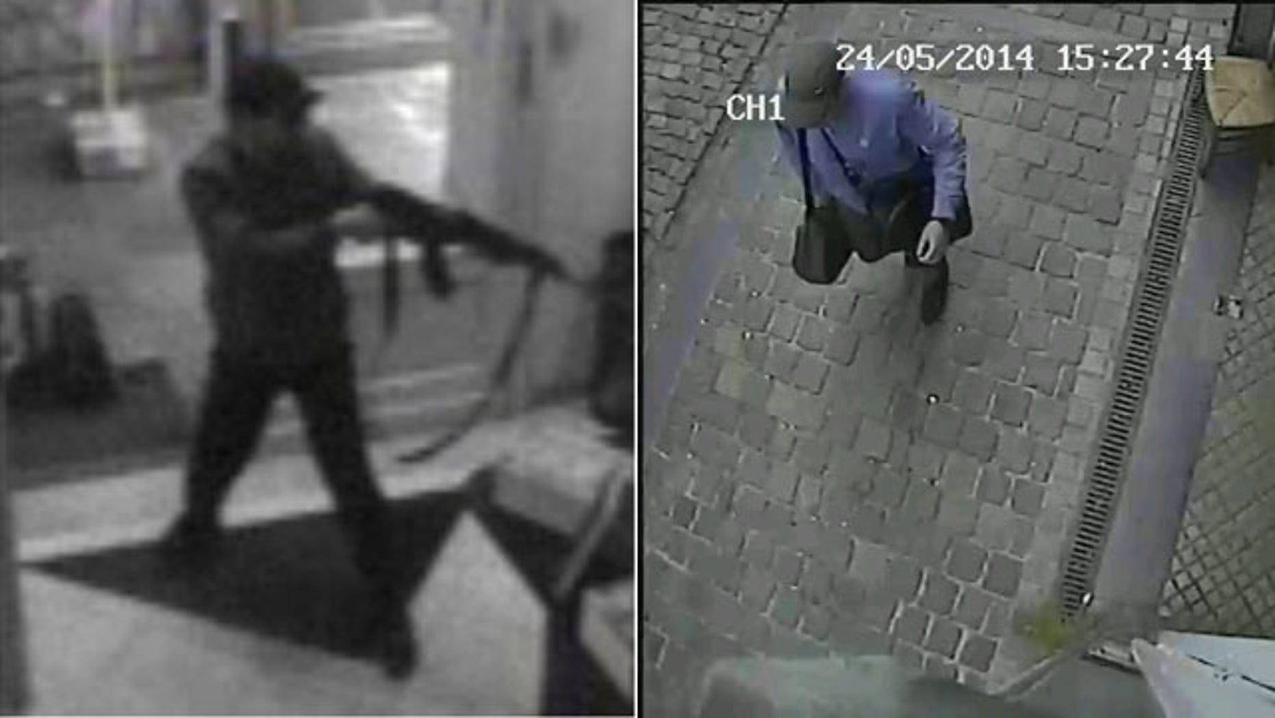 May 25, 2014: These photos taken from surveillance footage and released by Belgian Federal Police show a man shooting at the Jewish museum in Brussels, Belgium, on Saturday, May 24, 2014. (AP Photo/Belgian Federal Police)