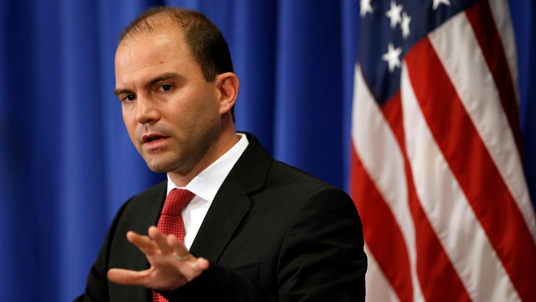 In this August 22, 2014 photo, Deputy U.S. national security adviser Ben Rhodes speaks during a press briefing on Martha's Vineyard, Massachusetts.