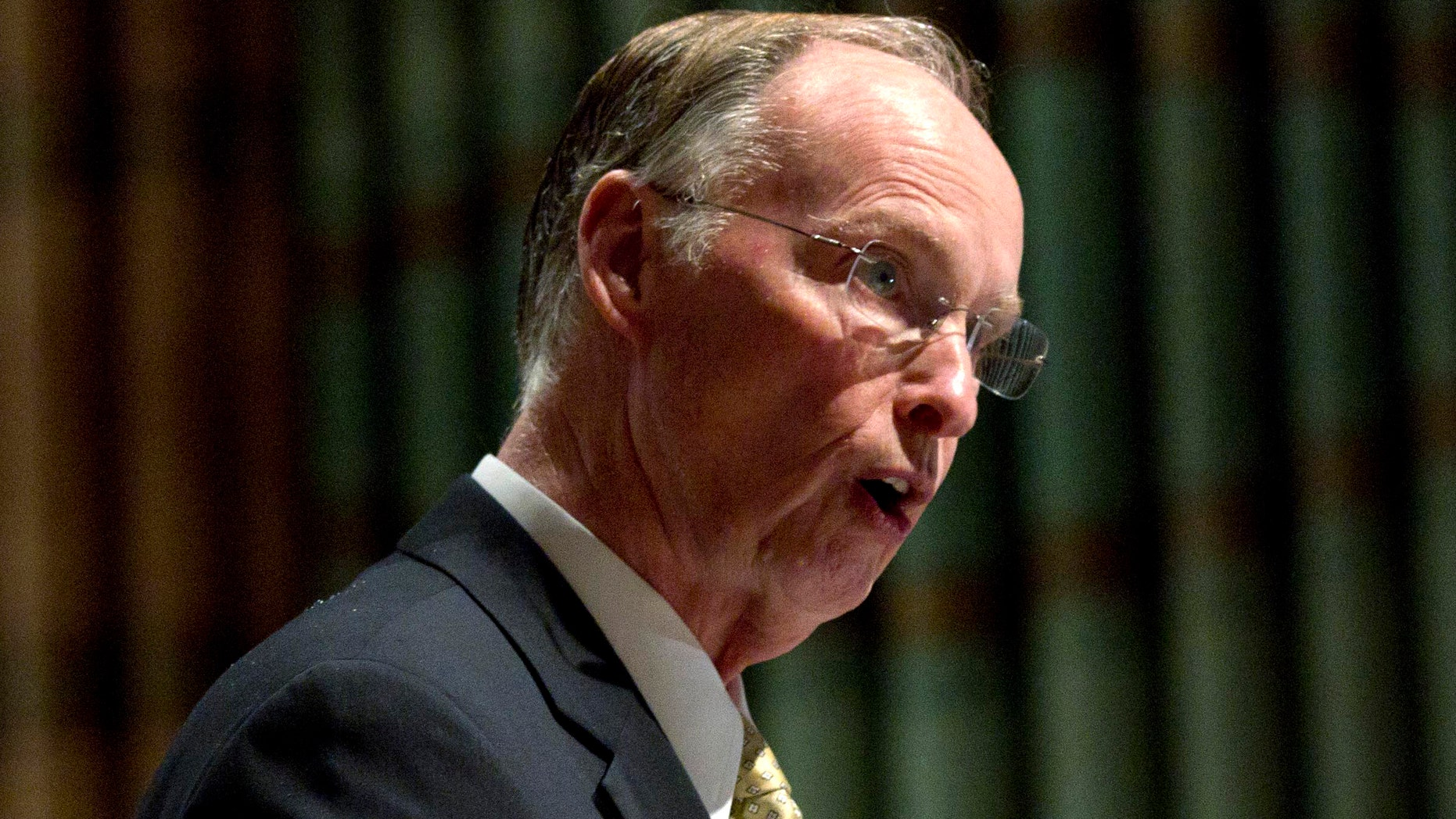 FILE - In this May 3, 2012 file photo, Alabama Gov. Robert Bentley speaks in Montgomery, Ala. While Mitt Romney faults President Barack Obama for a weak American economy, Republican governors across the country are merrily trumpeting tales of business growth and falling employment.    (AP Photo/Dave Martin, File)