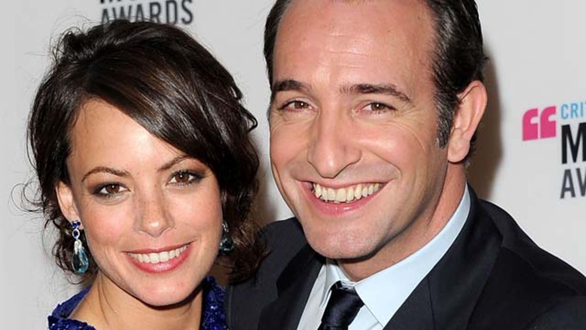 """Jan. 12, 2012: Actress Berenice Bejo (L) and actor Jean Dujardin, winners of the Best Picture Award for """"The Artist"""" pose in the press room during the 17th Annual Critics Choice Movie Awards held at The Hollywood Palladium in Los Angeles, Calif."""