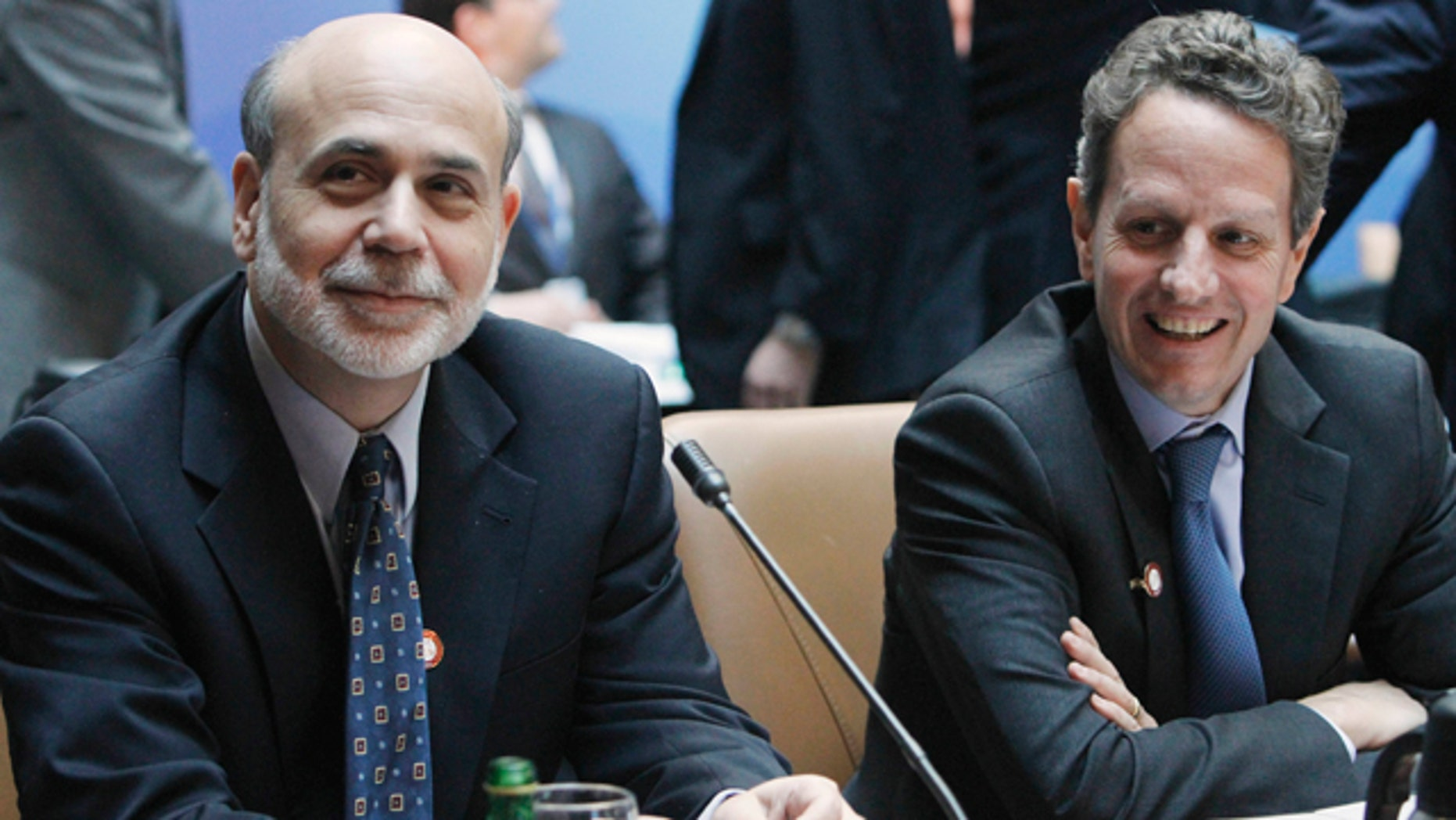April 15: Federal Reserve Chairman Ben Bernanke, left, sits with Treasury Secretary Timothy Geithner before a meeting of the G-20 at the World Bank/IMF Spring Meetings 2011 in Washington.