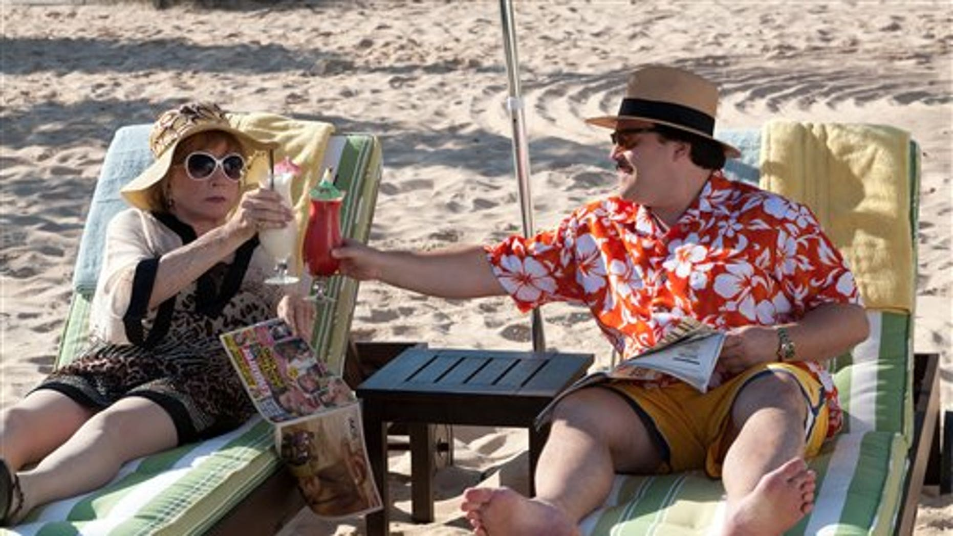 """In this film publicity image released by Millennium Entertainment, Shirley MacLaine portrays Marjorie Nugent, left, and Jack Black portrays Bernie Tiede in a scene from """"Bernie."""" (AP Photo/Millennium Entertainment)"""