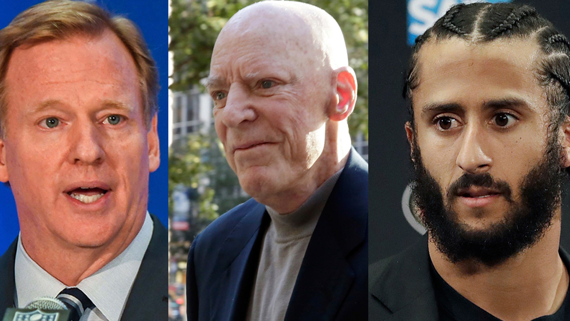 The NFL Players Coalition is seeking a meeting with, from left, Commissioner Roger Goodell, Houston Texans owner Bob McNair and free agent quarterback Colin Kaepernick.
