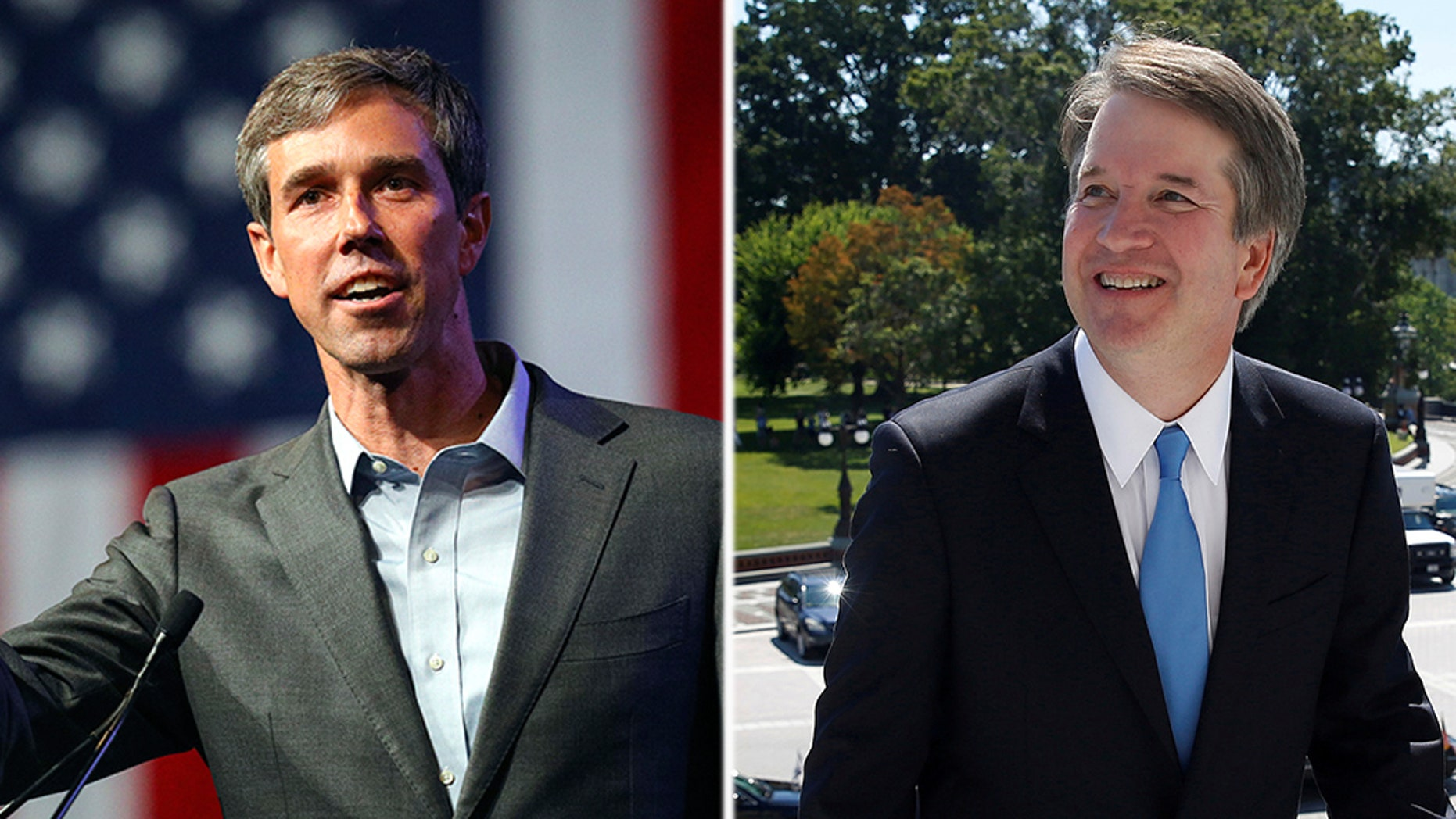 Beto O'Roarke, the Democrat candidate for Senate in Texas (l); and embattled Supreme Court nominee Brett Kavanaugh (r).