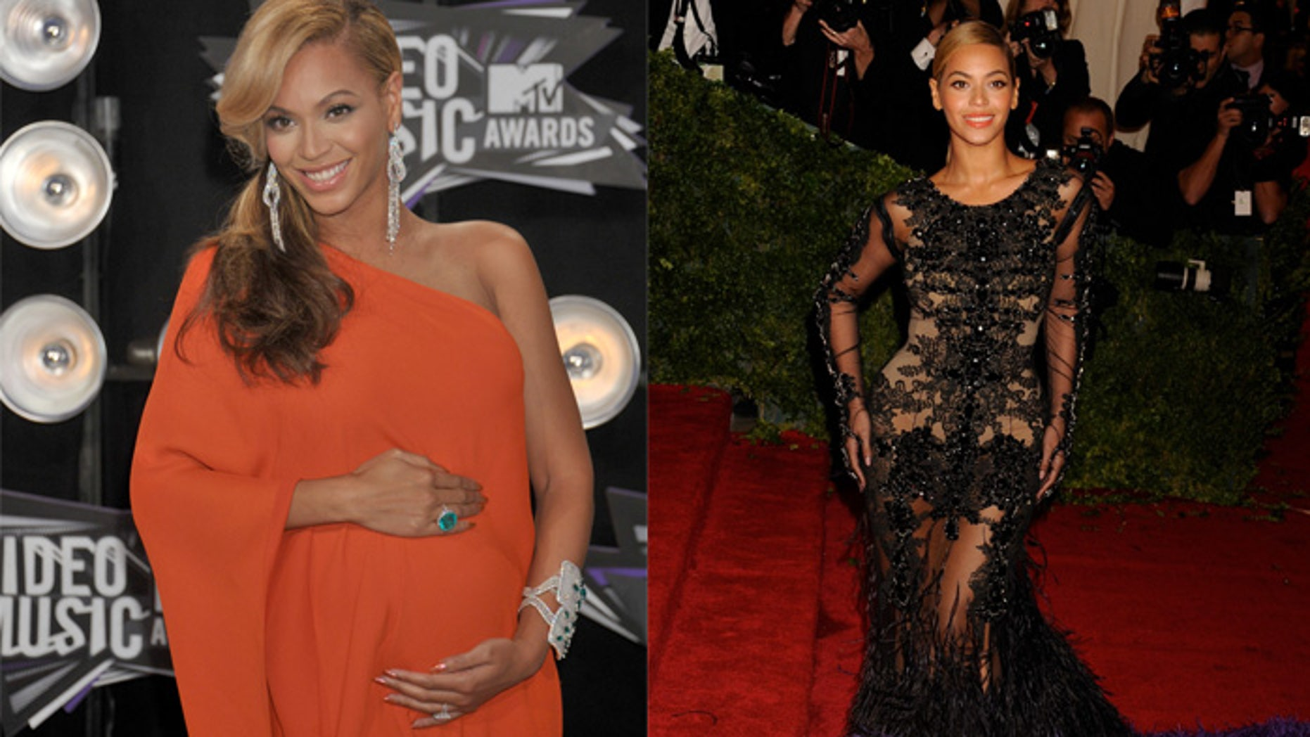 Beyoncé while pregnant (left) and post-pregnancy (right) at the Costume Institute Gala at The Metropolitan Museum of Art May 7, 2012