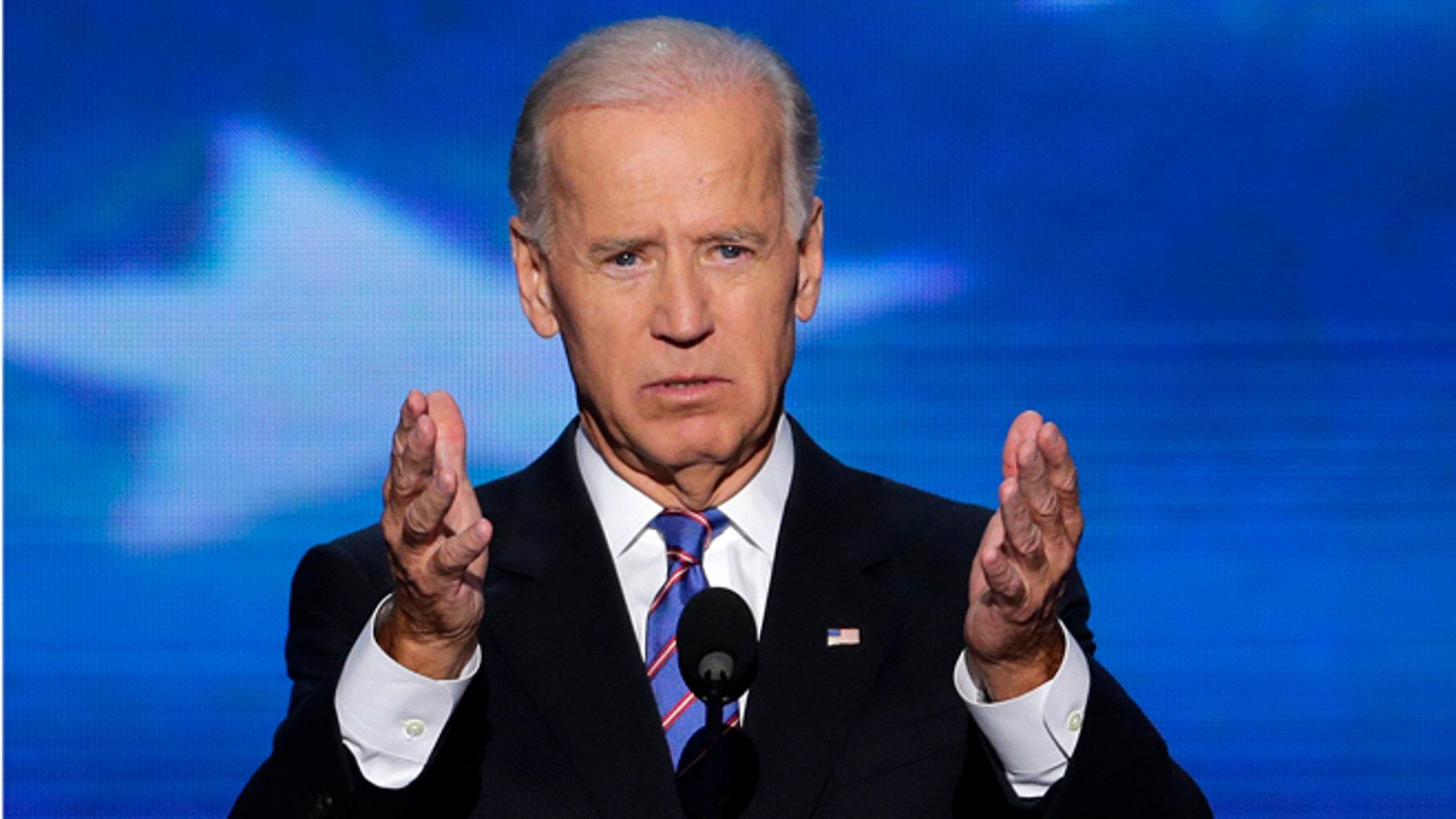 Sept. 6, 2012: Vice President Joe Biden addresses the Democratic National Convention in Charlotte, N.C.