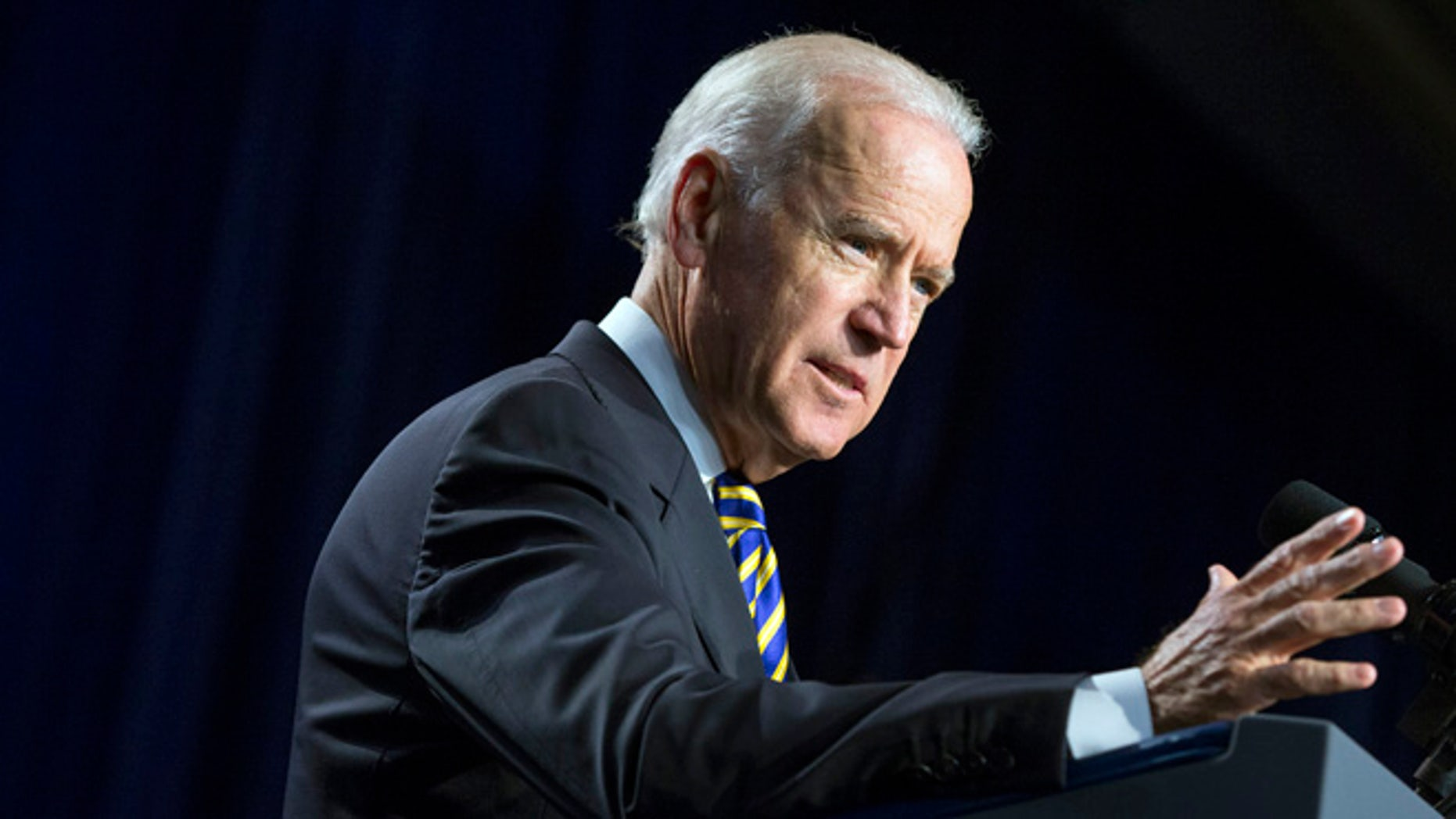 Vice President Joe Biden gestures during a speech to mark the 40th anniversary of the Legal Services Corporation, on Tuesday, Sept. 16, 2014, in Washington. (AP Photo/Evan Vucci)