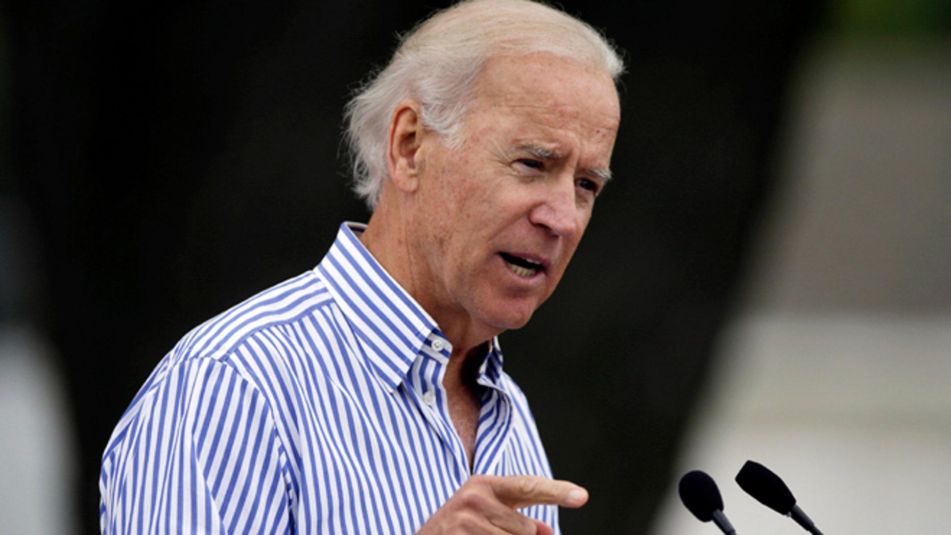 Sept. 15, 2013: Vice President Joe Biden speaks during Iowa Sen. Tom Harkin's annual fundraising steak fry dinner in Indianola, Iowa.
