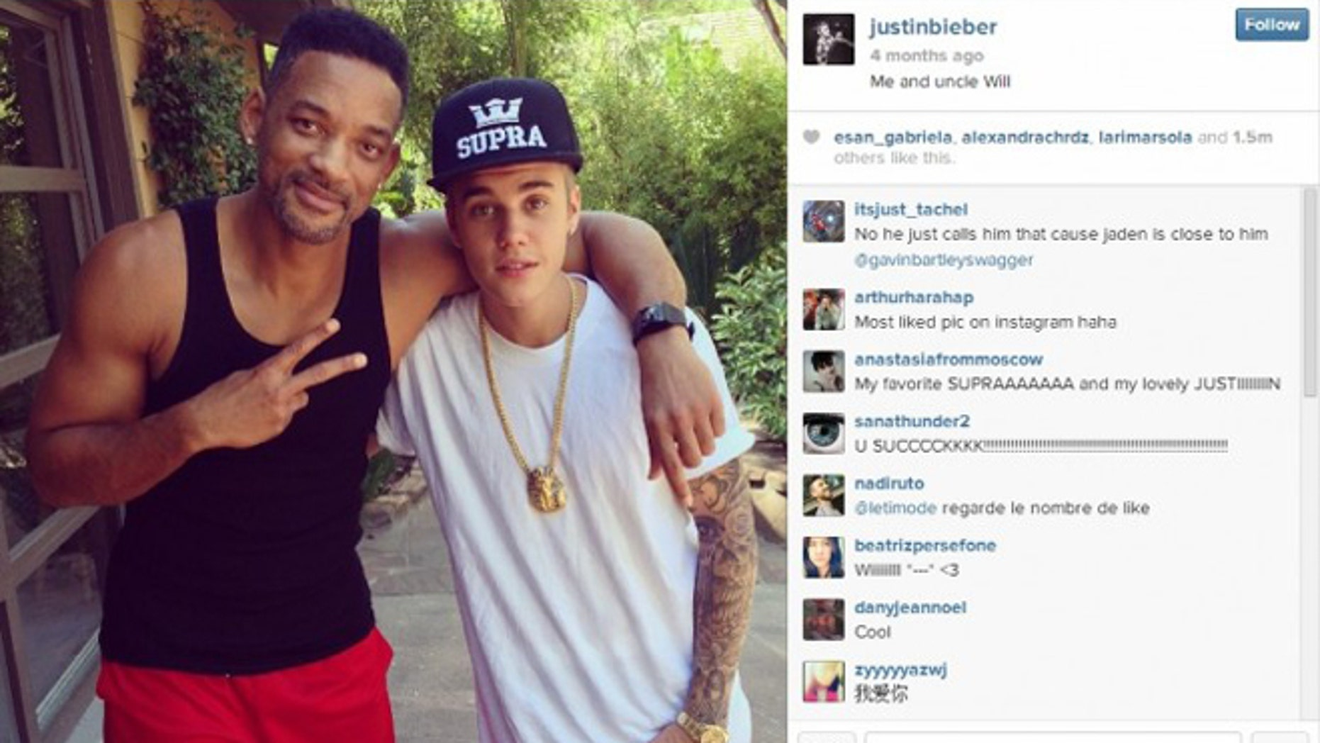 """This picture of Will Smith and Justin Bieber was named """"picture of the year"""" by Instagram."""