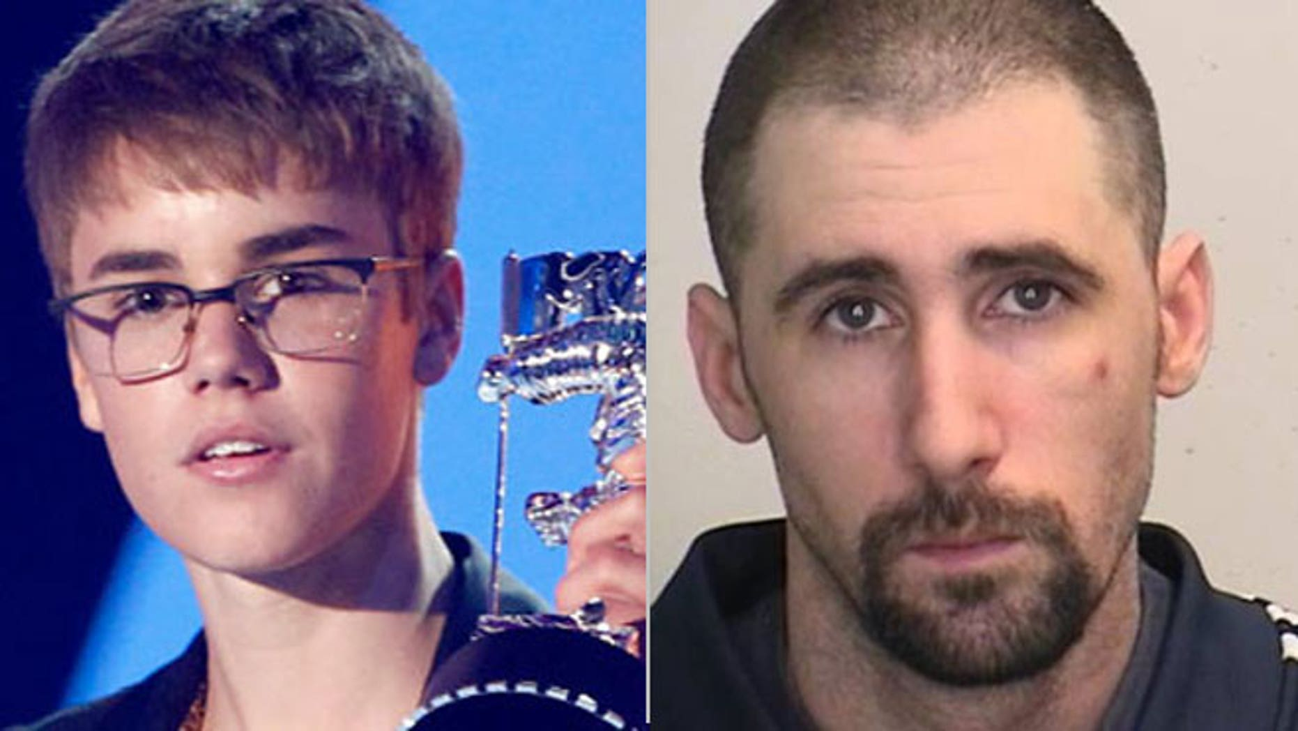 An undated photo provided by the Essex County, N.J., Prosecutor's Office shows Lee Moir of Toronto, Ontario (right). Authorities in Canada have accused Moir, a Justin Bieber (left) impersonator, of threatening and sexually abusing a 12-year-old girl in New Jersey on a video chat site.