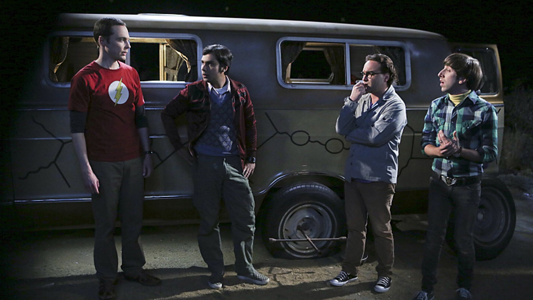 """The Bachelor Party Corrosion"" -- The guys' science skills are put to the test when they get a flat tire during Leonard's bachelor party weekend in Mexico, on THE BIG BANG THEORY, Monday, Oct. 5 (8:00-8:31 PM, ET/PT), on the CBS Television Network. Pictured left to right: Jim Parsons, Kunal Nayyar, Johnny Galecki and Simon Helberg Photo: Monty Brinton/CBS ©2015 CBS Broadcasting, Inc. All Rights Reserved"