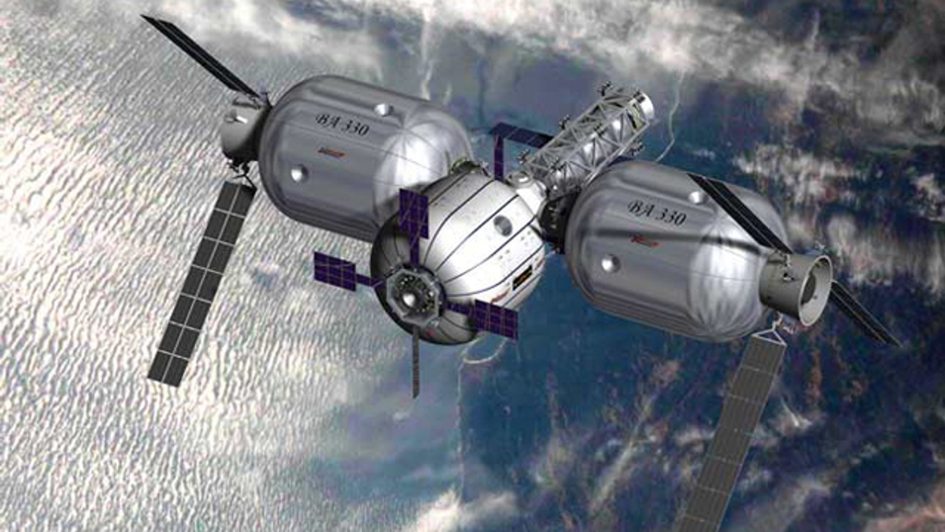 An artist's conception of of Bigelow Aerospace inflatable space modules. The company unveiled a business plan to populate space with habitable complexes for international space agencies and multinational corporations.
