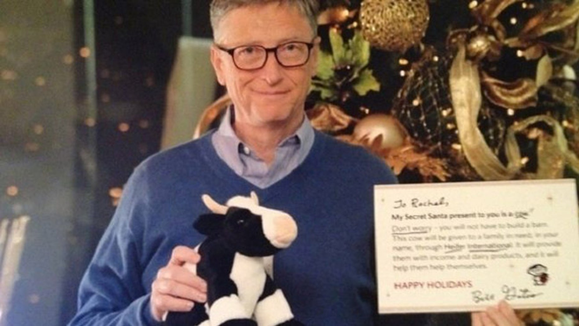 Reddit user Rachel was shocked to learn that Bill Gates was her Secret Santa. He made a donation on her behalf to Heifer International, plus gave her a stuffed cow and a book.
