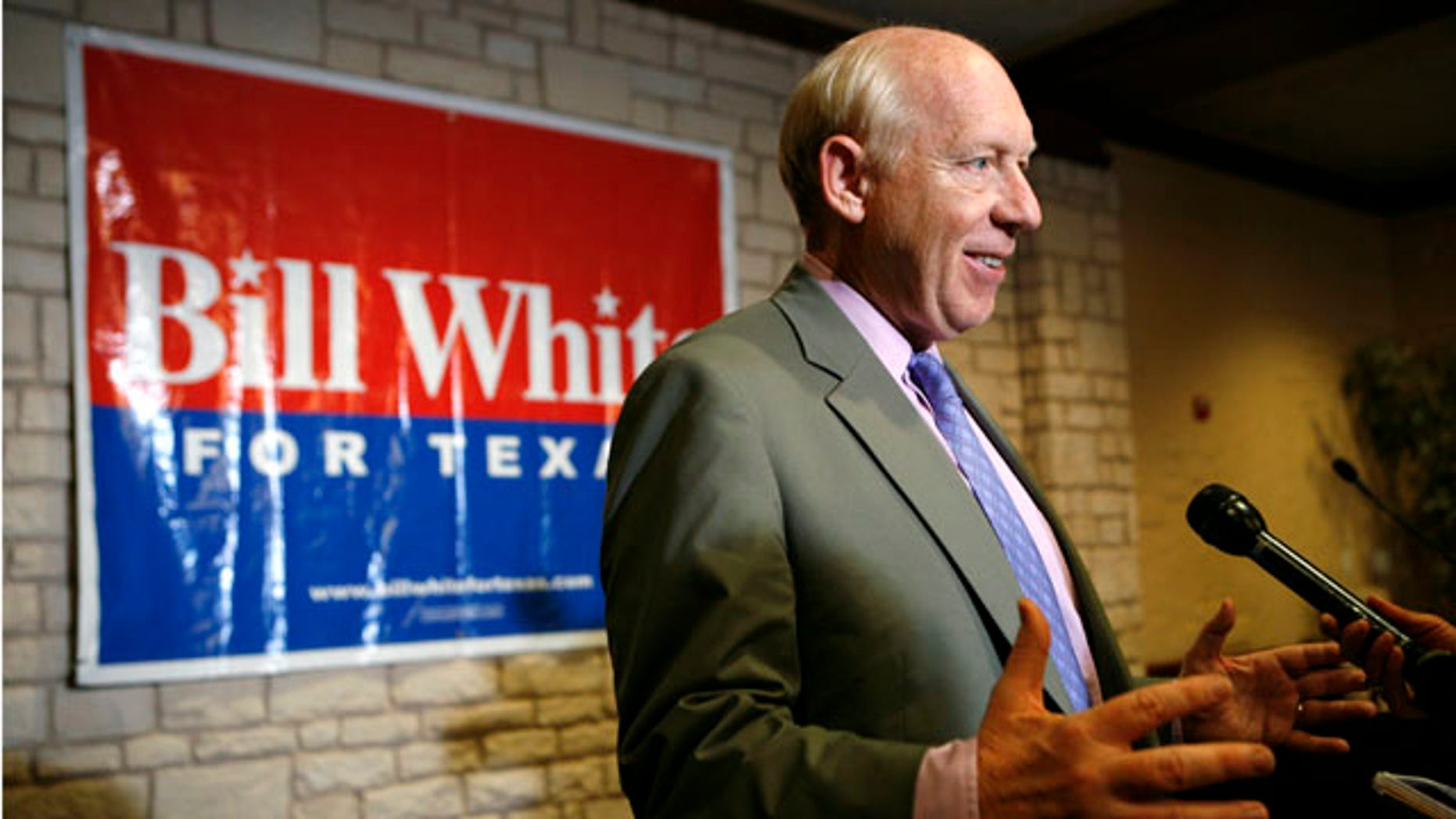 April 30: Texas Democratic gubernatorial candidate Bill White responds to a reporters question following a news conference in Grand Prairie, Texas.