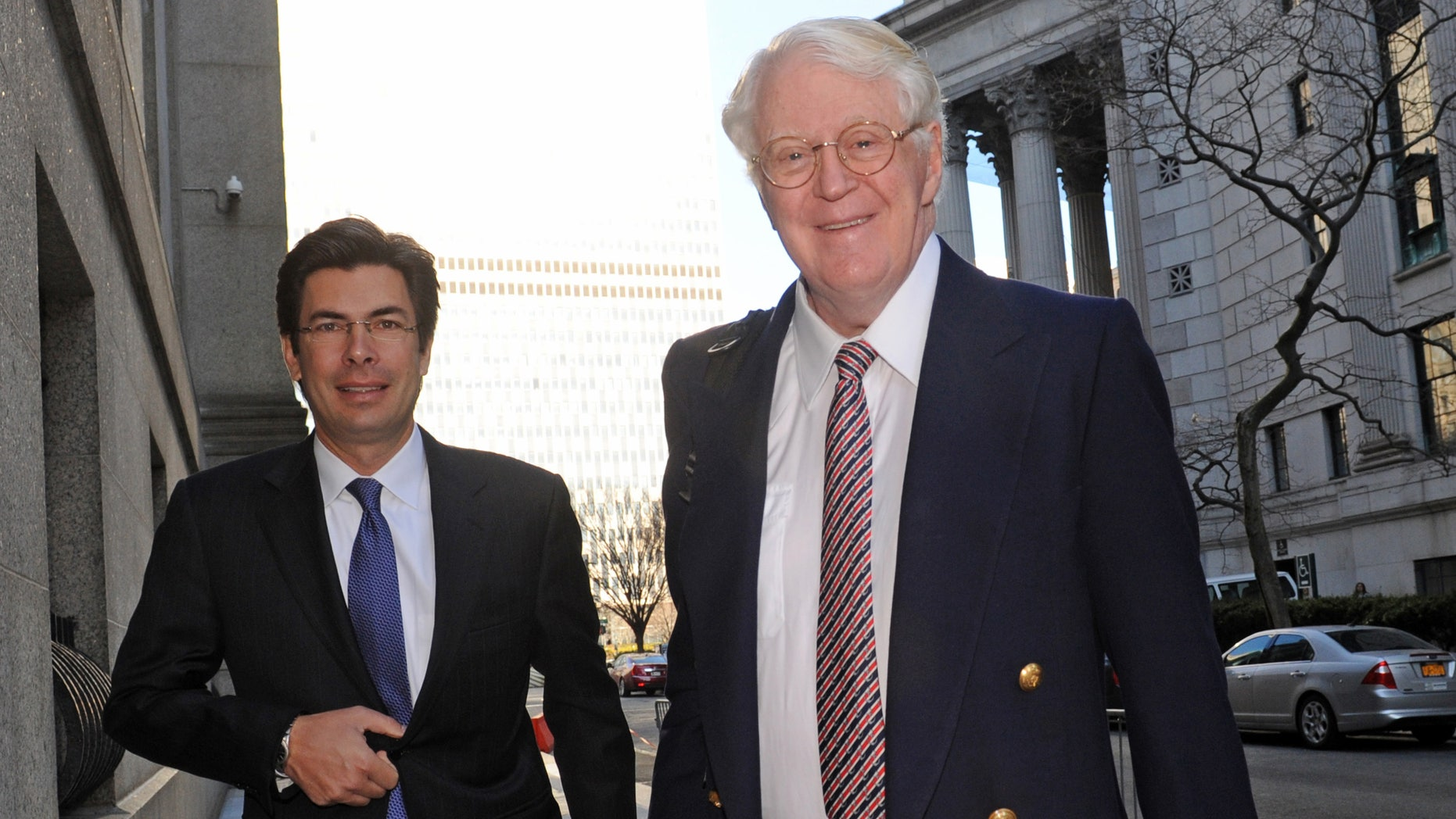 March 27, 2013: Florida energy magnate William Koch, right, arrives at Manhattan federal court in New York.