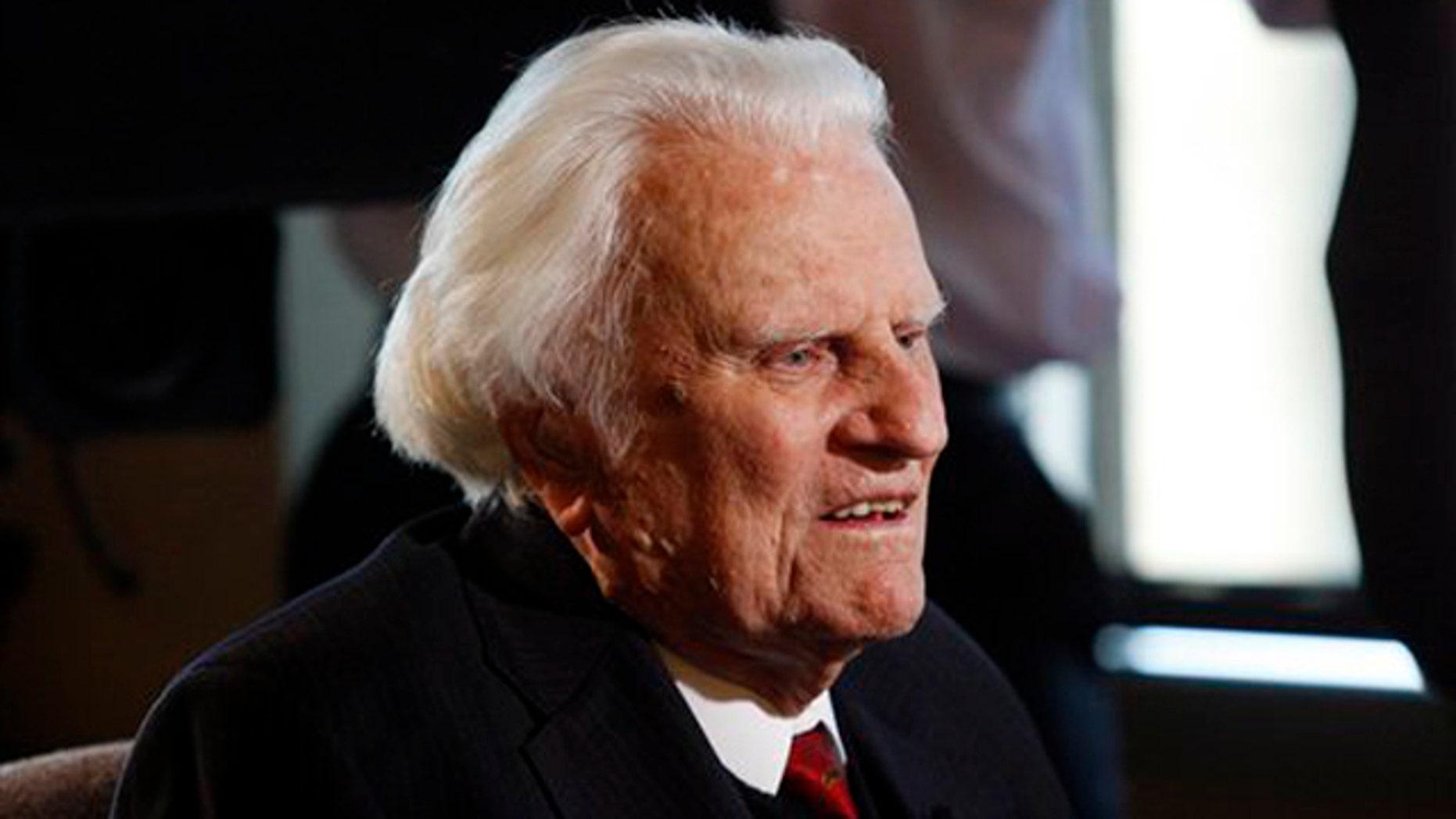 In this Dec. 20, 2010 file photo, evangelist Billy Graham, 92, is interviewed at the Billy Graham Evangelistic Association headquarters in Charlotte, N.C.