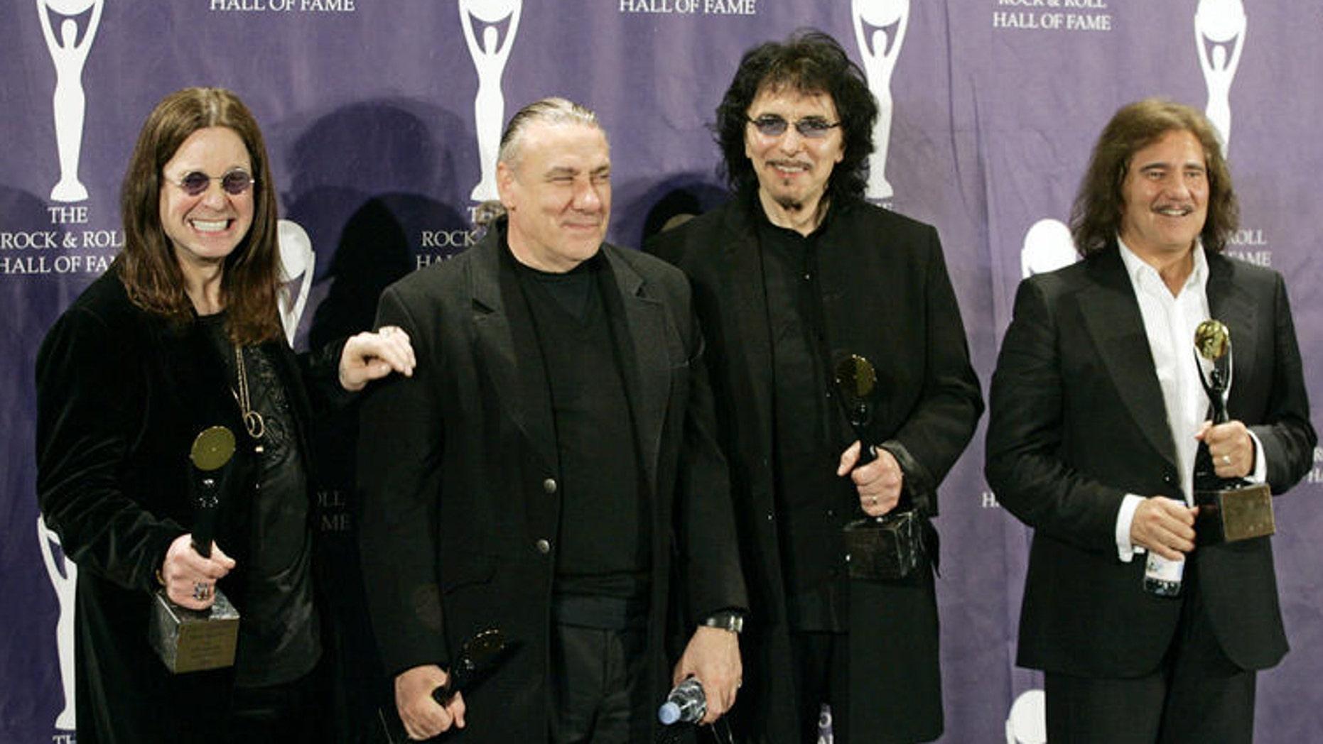 Black Sabbath: (r to l) Ozzy Osbourne, Bill Ward, Tony Iommi and Geezer Butler.