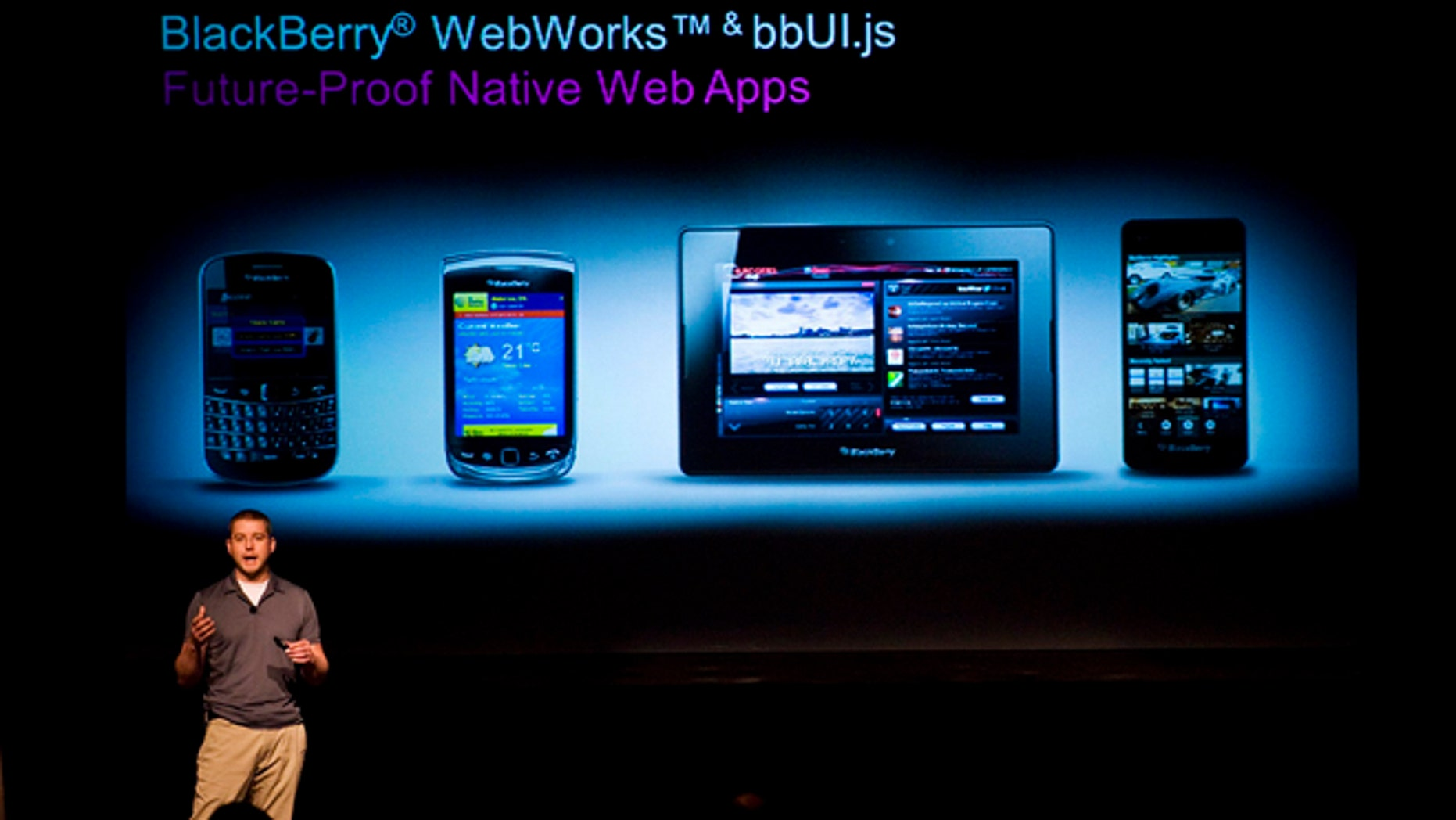 June 21, 2012: Tim Neil, Research In Motion Ltd.'s Canadian Operating Director of Operations, Platforms and Tools, speaks about the Blackberry 10 architecture during the RIM Blackberry 10 Jam World Tour in Toronto.
