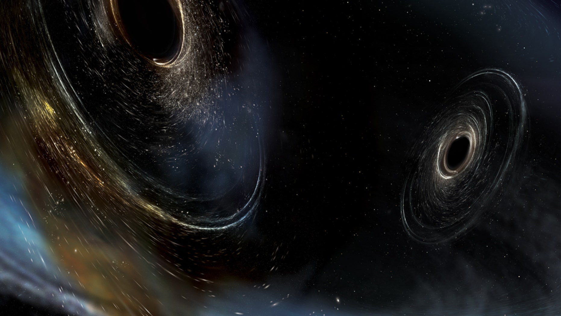 An artist's simulation of two black holes merging in space. The gravity of a black hole is strong enough to warp space, creating the swirling effect around both objects.