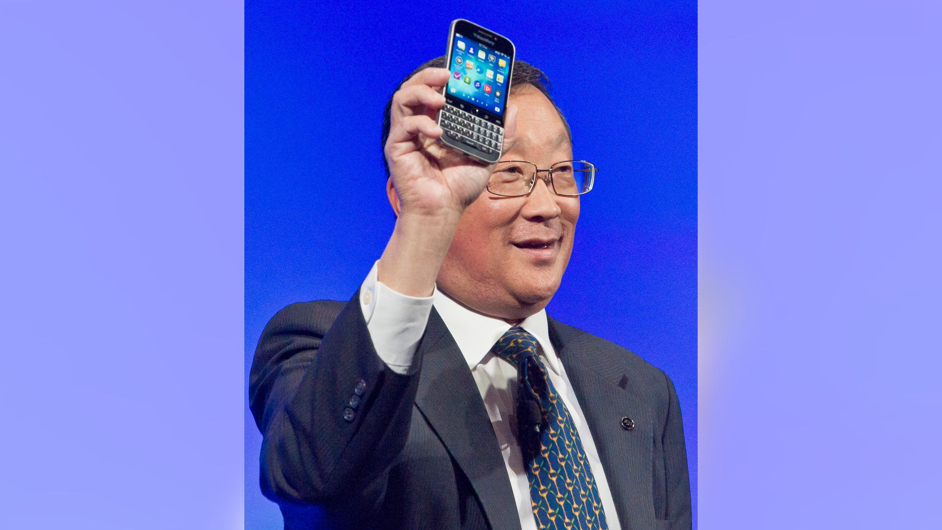 BlackBerry CEO John Chen introduces the company's new phone, the BlackBerry Classic, during a news conference Dec. 17, 2014, in New York.