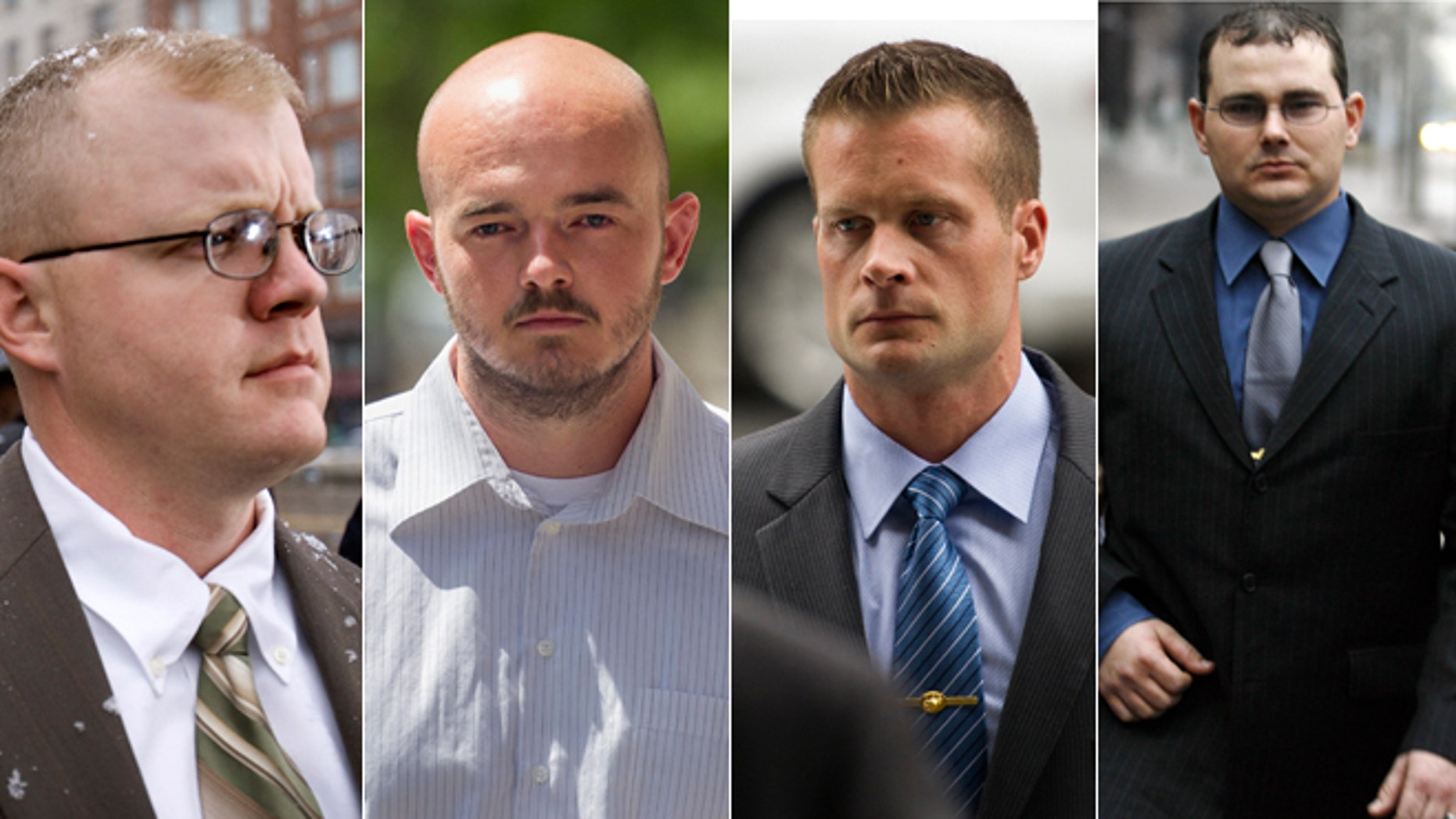 File photos of former Blackwater Worldwide guards Paul Slough (Dec. 8, 2008), Nicholas Slatten (June 11, 2014), Evan Liberty (June 11, 2014) and Dustin Heard (Jan. 6, 2009).