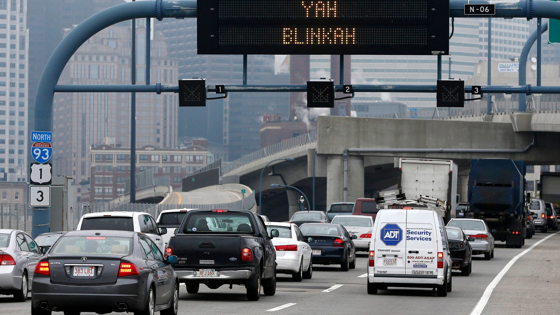 May 9, 2014: An electronic highway sign is seen on Interstate 93 in Boston.